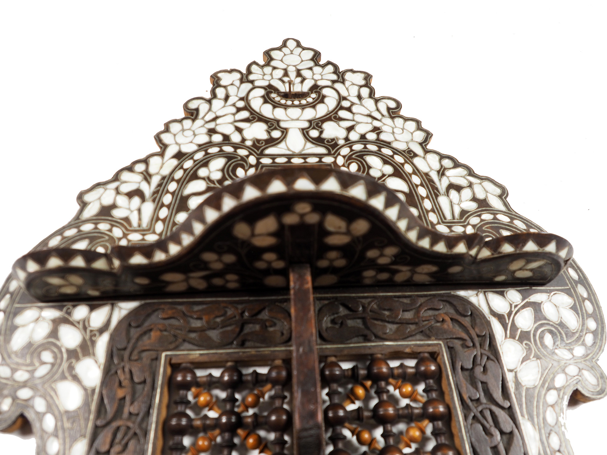 Antique syrian Handcrafted Natural Mother of pearl Inlaid Wood Wall Shelf