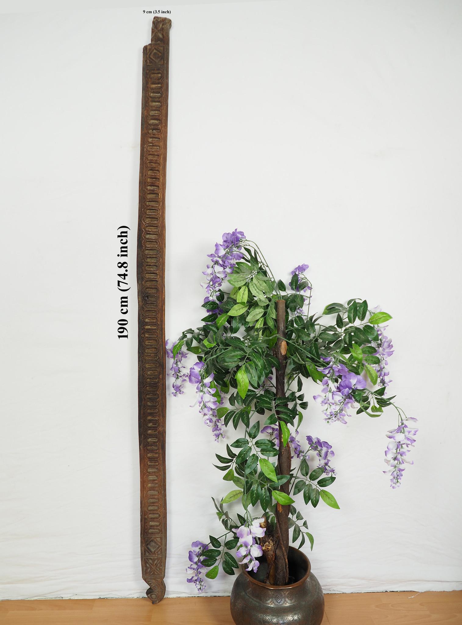 190 cm x 9 cm antik orient handgeschnitzte Massiv Holz Afghanistan Nuristan Panel Pakistan Swat-Valley 18/19 Jh. Nr:20/H