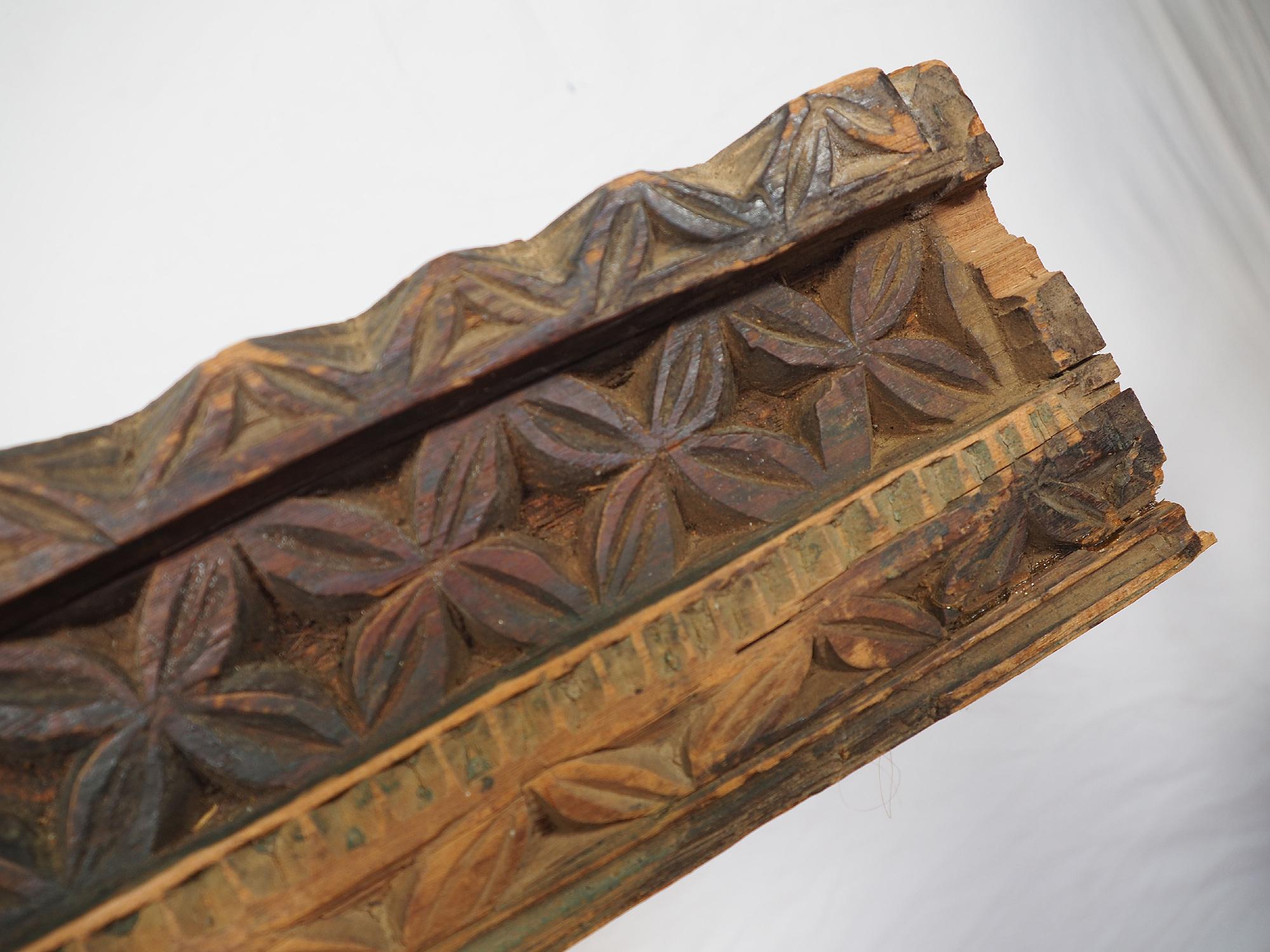 115 cm x 11 cm antik orient handgeschnitzte Massiv Holz Afghanistan Nuristan Panel Pakistan Swat-Valley 18/19 Jh. Nr:20/A