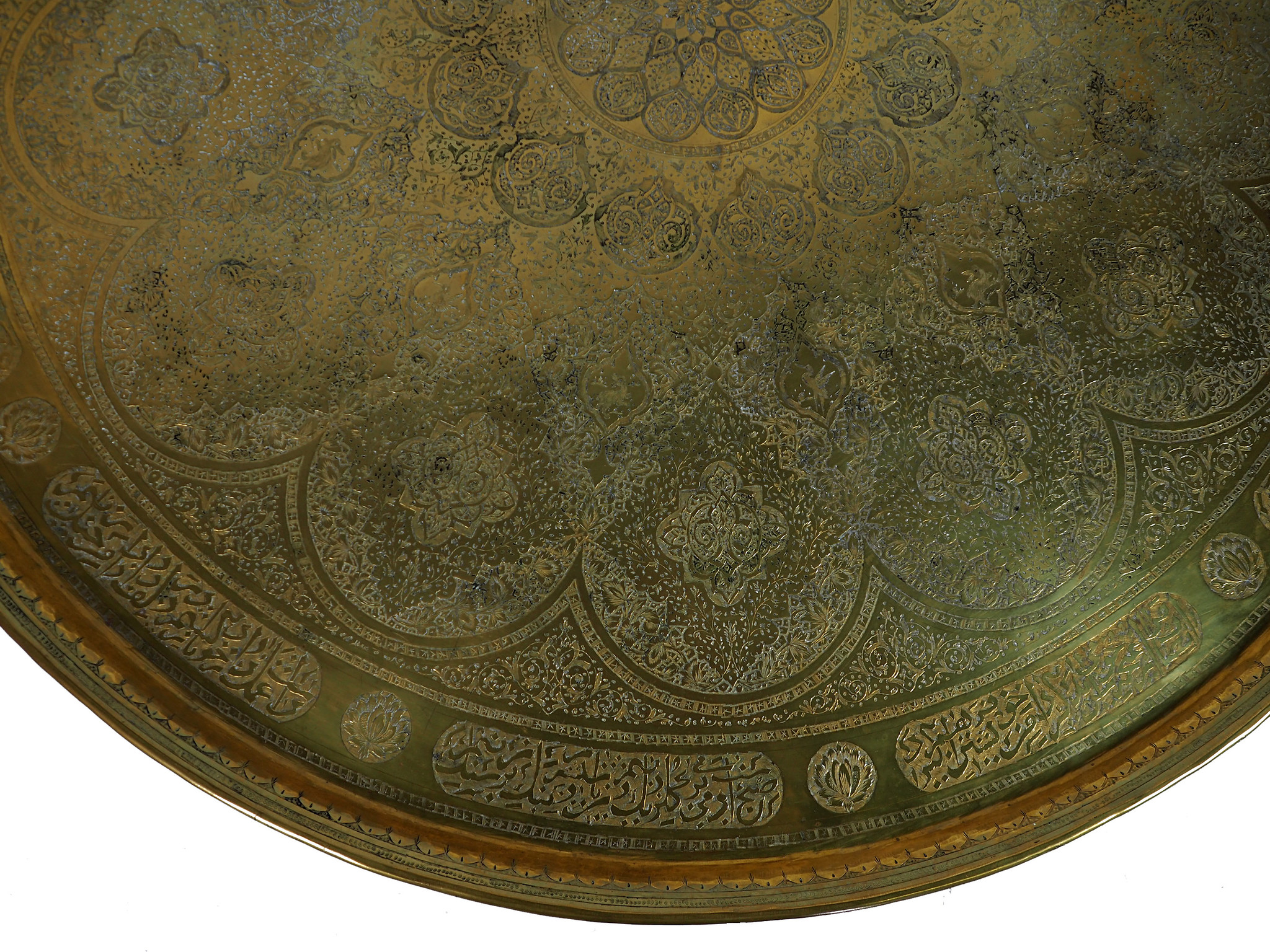 """38,2"""" Antique ottoman orient Islamic ottoman Hammer Engraved Brass table Tray Syria Morocco, Egypt with arabic script calligraphy  H20"""