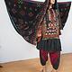 antik und sehr seltener Komplettes Frauen Hochzeit Kleid mit Kopftuch und Hose aus Afghanistan Nuristan kohistan Jumlo Nr-20/B