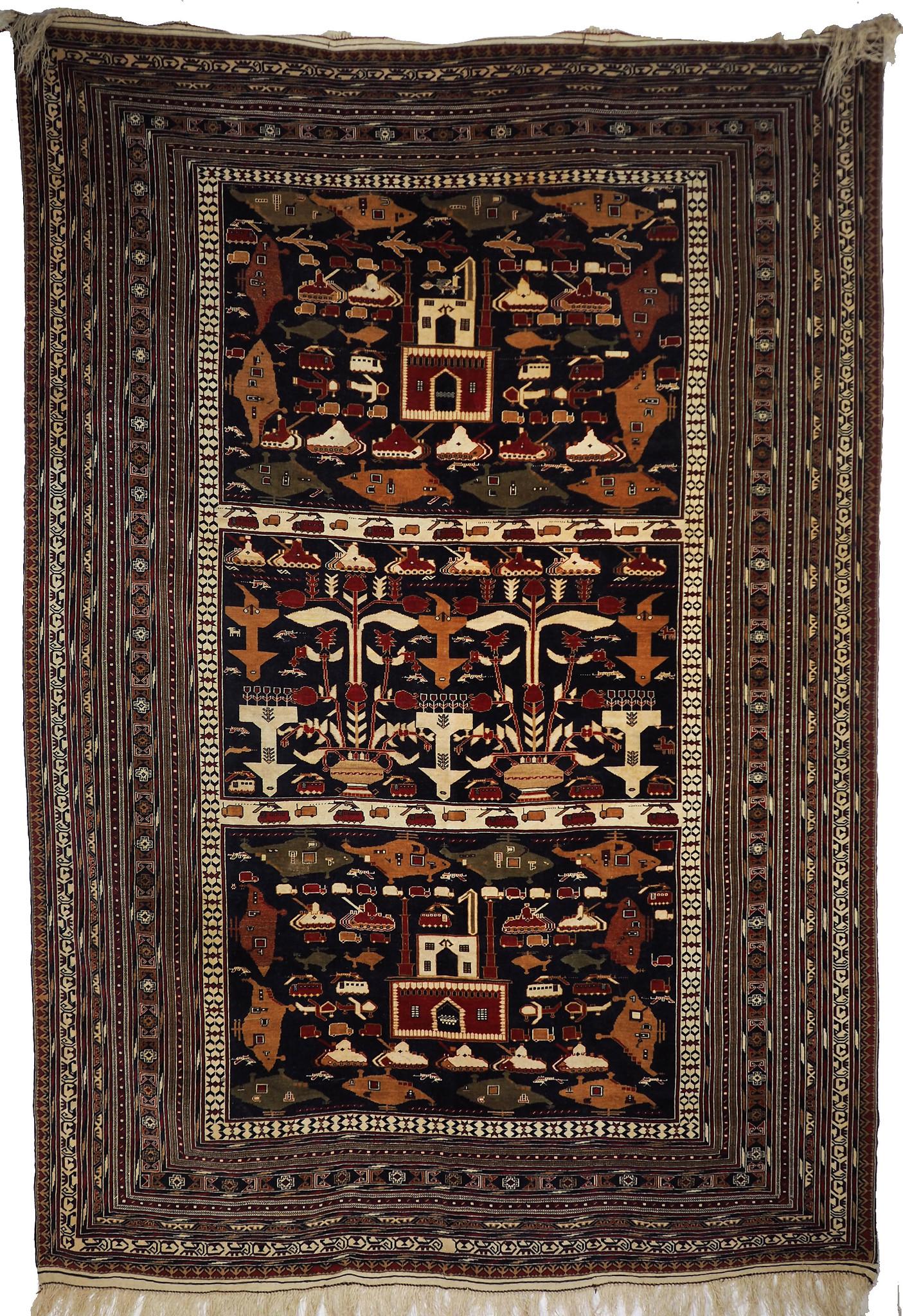 300x200 cm original Afghan beloch nomaden Kriegteppich Bildteppiche von Russische Einmarsch in Afghanistan Alikhoja