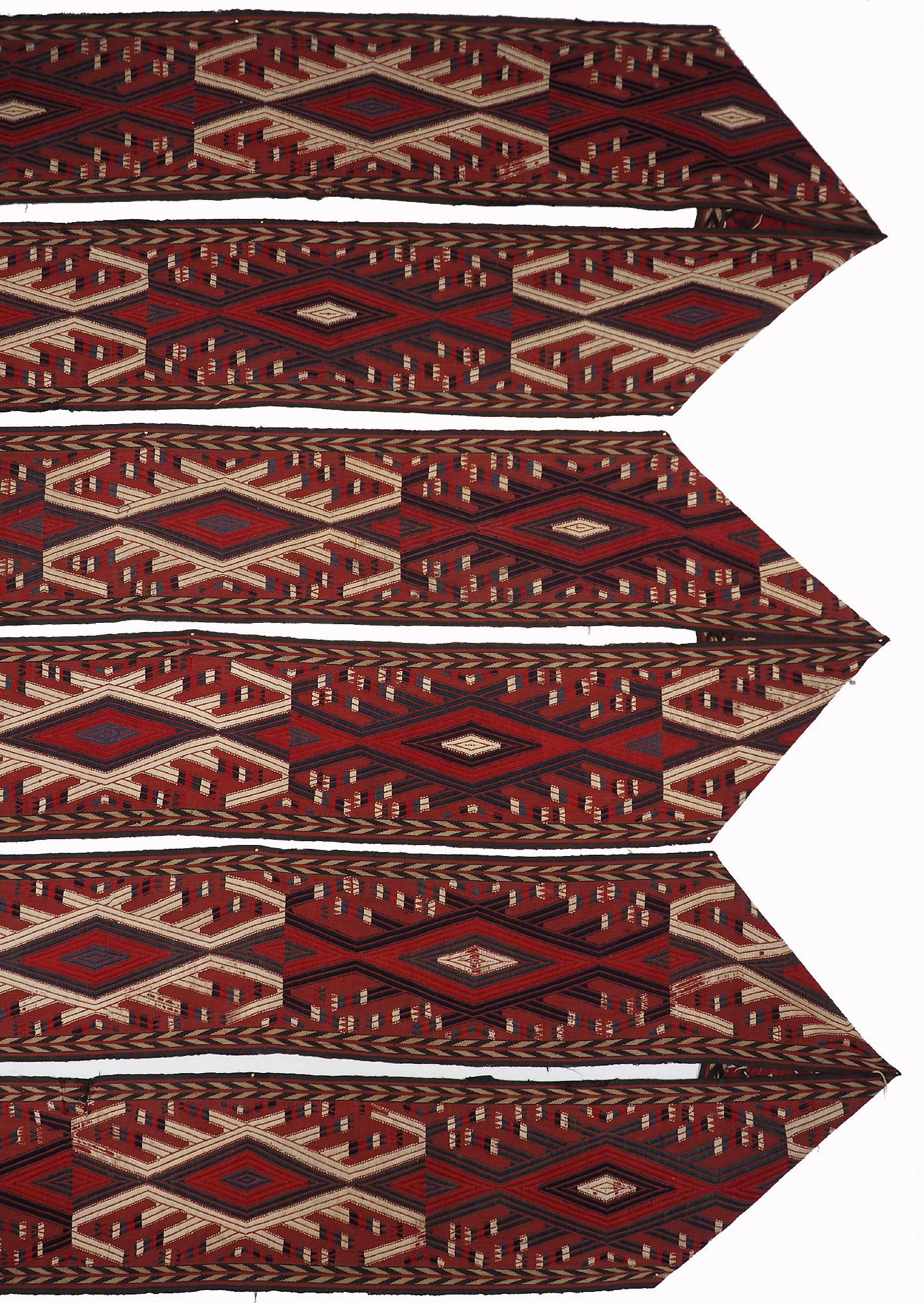 16 m x35 cm nomaden Turkmen Buchara Jomud Kelim Zeltband 19jh HH