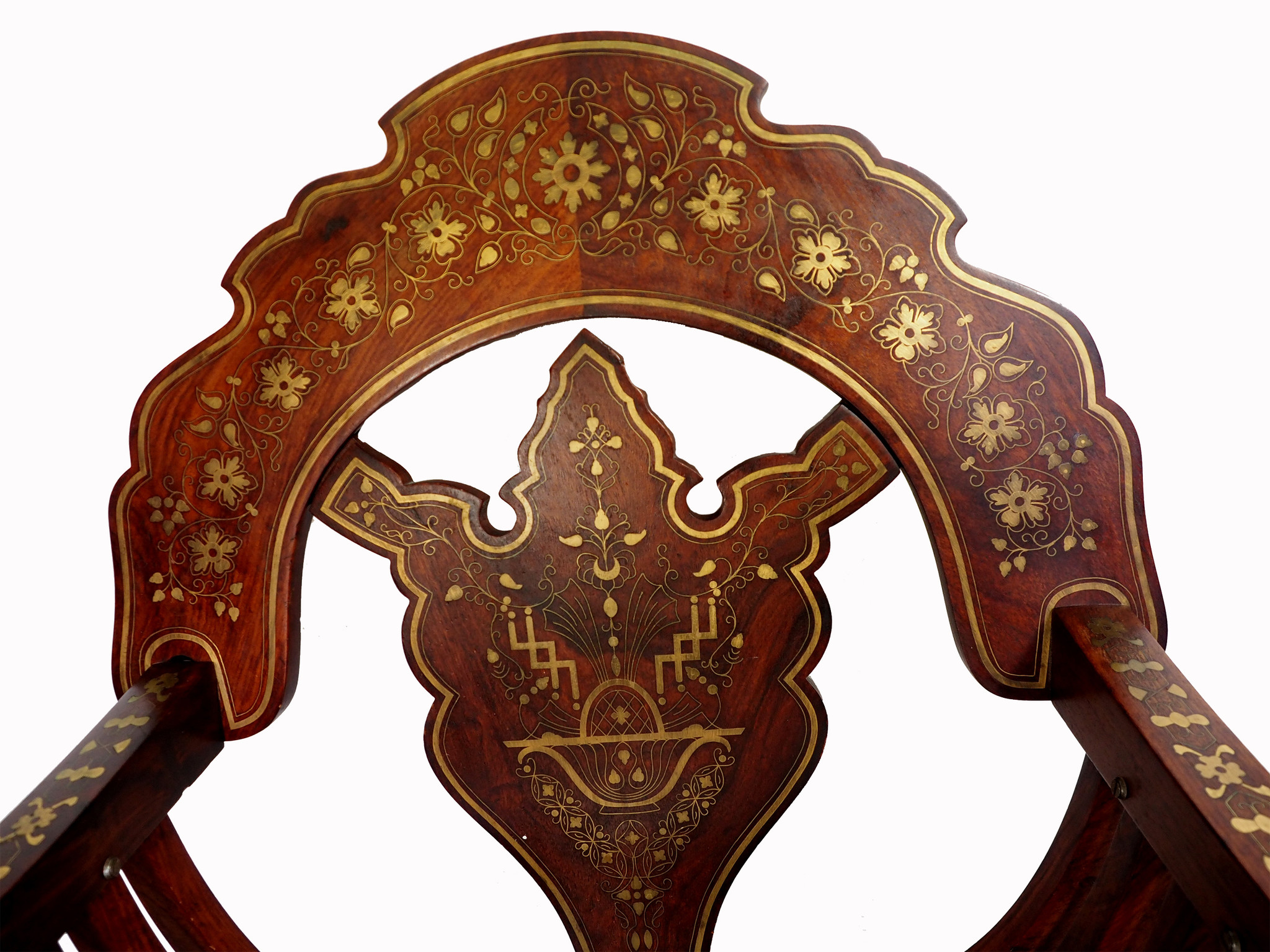 luxuriöse orient Teakholz Savonarola Stuhl und Tisch scherenstuhl Ritterstuhl zusammenklappbar mit Messing Intarsien