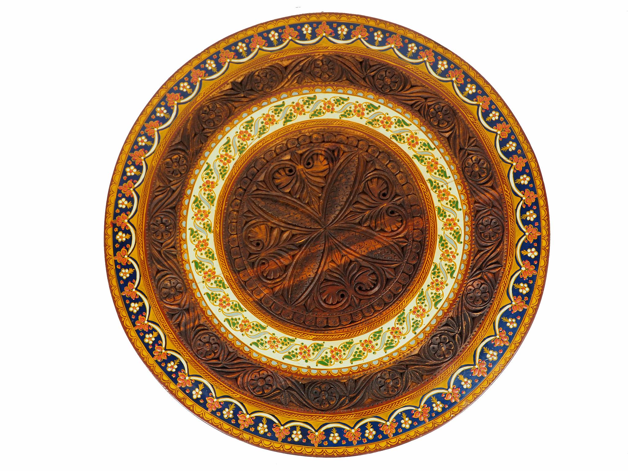 80 cm Massivholz handgeschnitzte Teetisch kolonialstil Wohnzimmertisch Tisch tisch aus Afghanistan Nuristan RUND