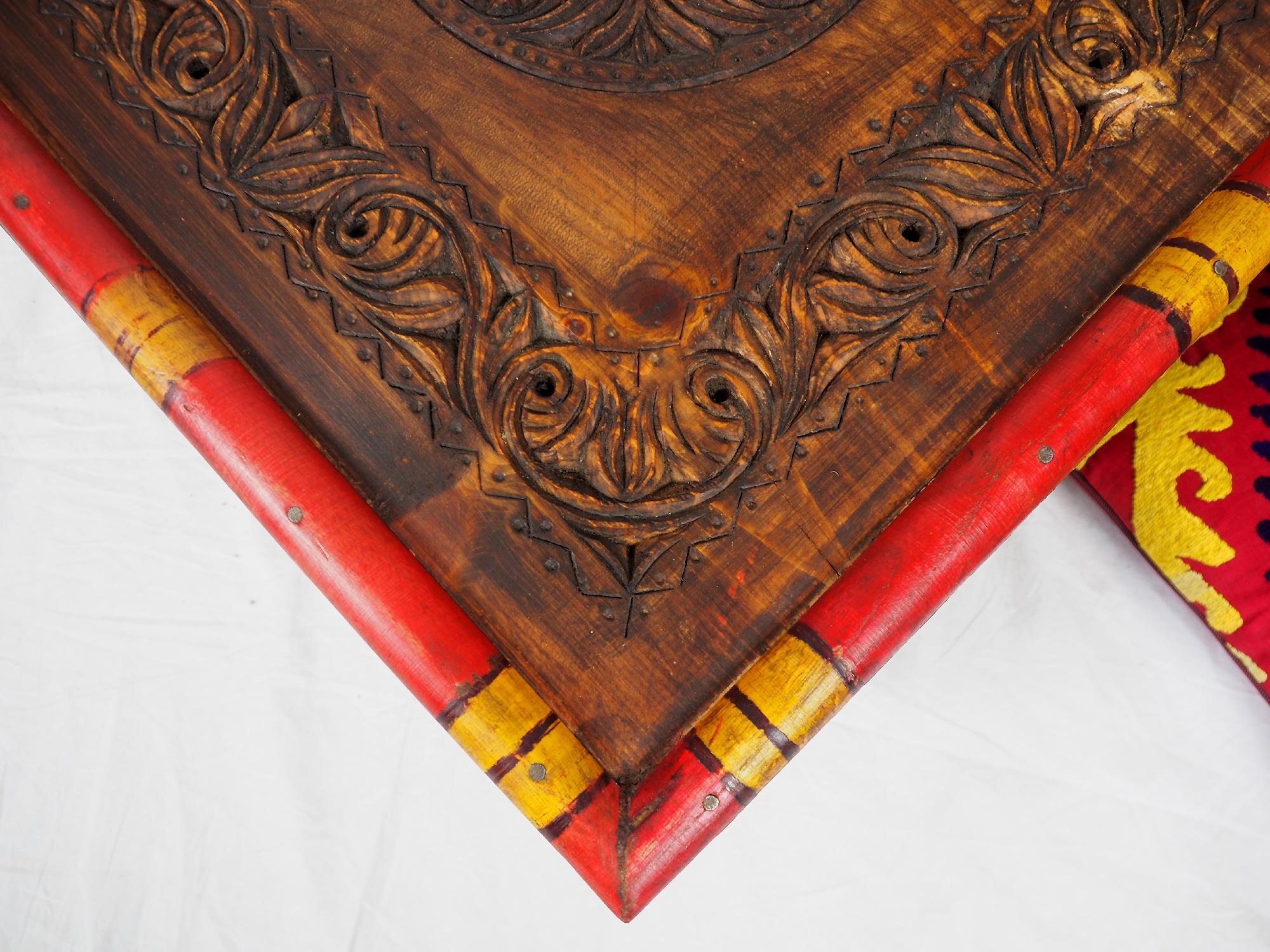 50x50 cm Massivholz handgeschnitzte Teetisch kolonialstil Wohnzimmertisch Tisch tisch aus Afghanistan Nuristan Punjab