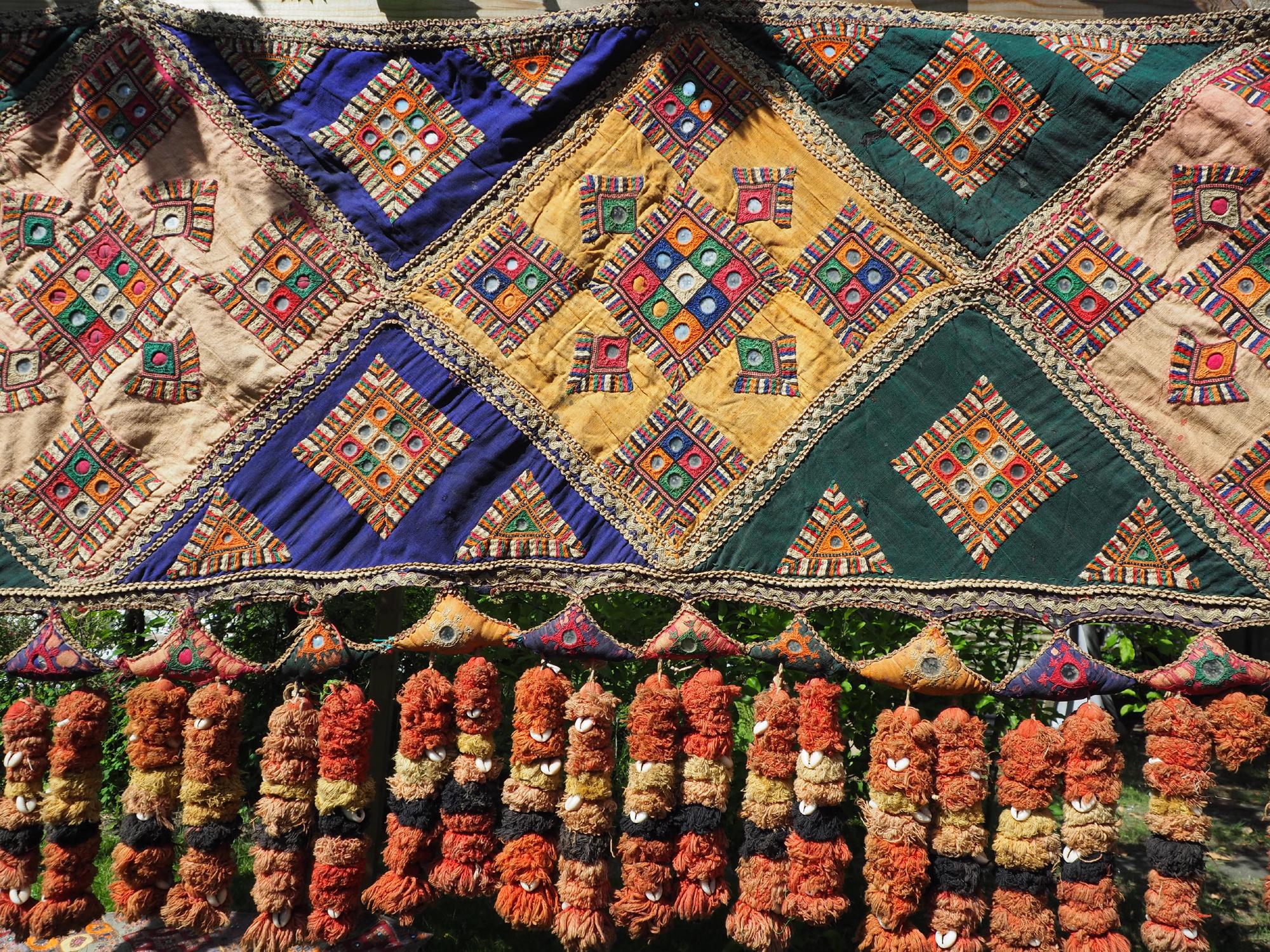 385x70 cm antike handbestickte indische mitgift hochzeit Zierband indien bestickte Toran-Wandbehang Toran No:A