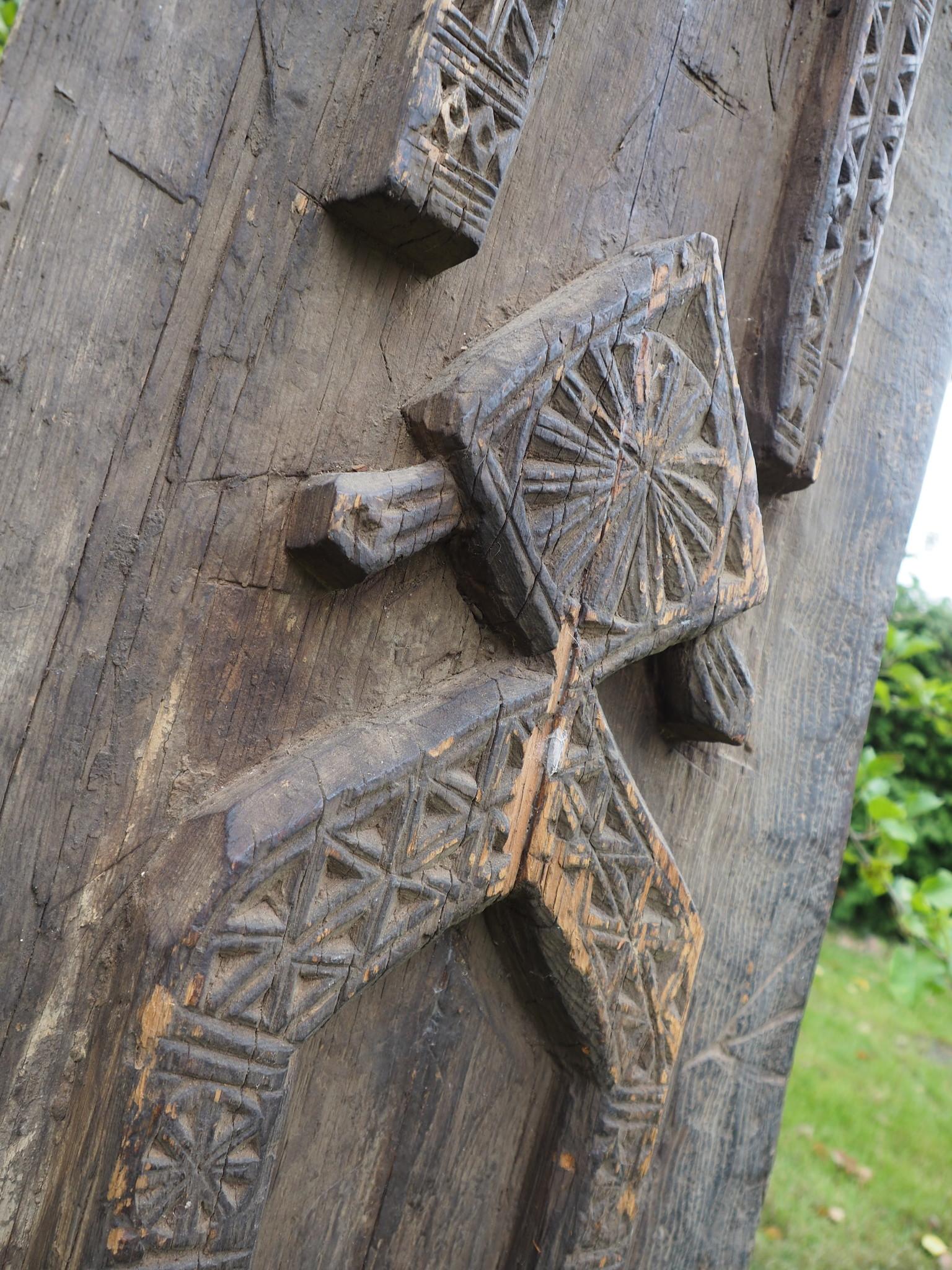 Antique orient vintage carved wooden door panel Door from Nuristan Afghanistan  Swat valley Pakistan 20/1