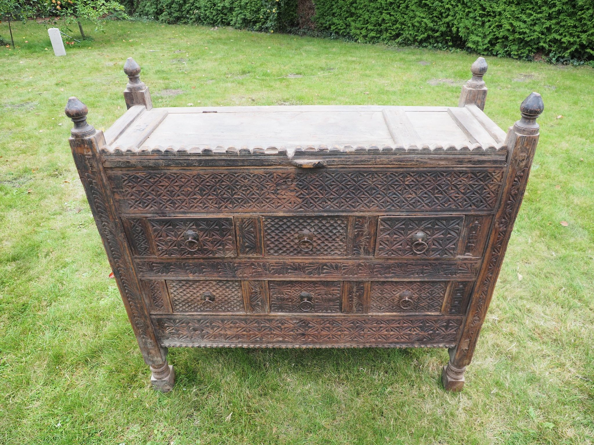 antique 19th century orient vintage cedar wood treasure Dowry Chest from Nuristan Afghanistan Pakistan (swat vally ) No:9