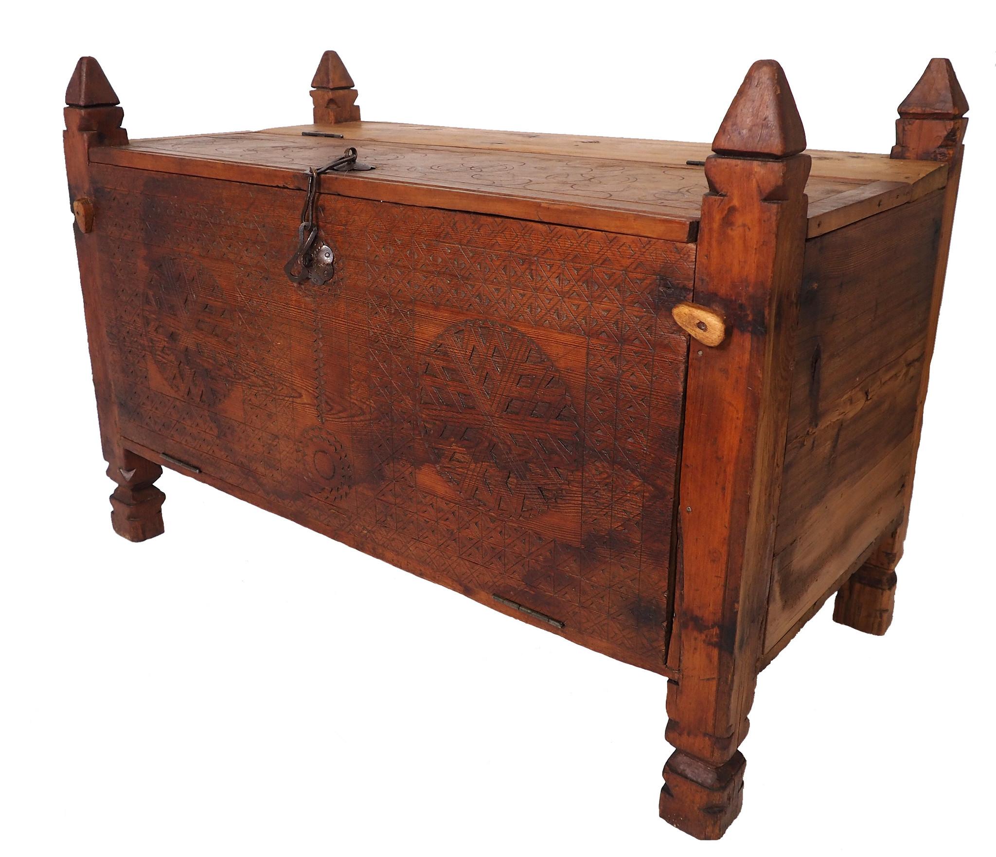 antique 19th century orient vintage Turkmen cedar wood treasure Dowry Chest from Afghanistan No:BAS