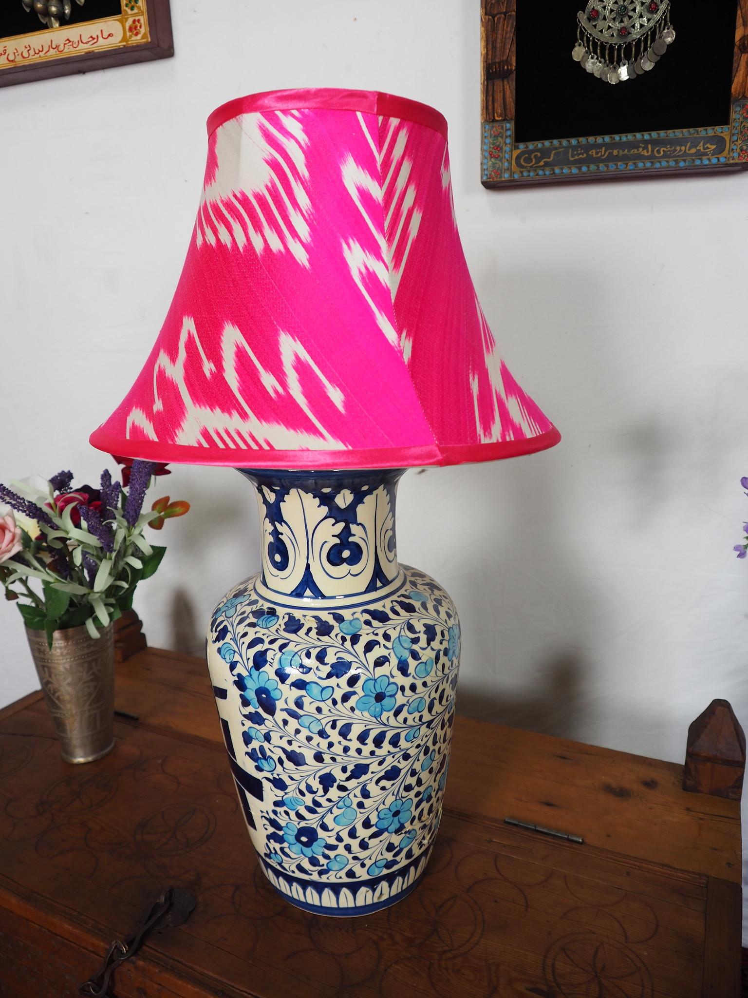 extravagant orient Uzbek Ikat stoff Schirm Lampenschirm Leuchtenschirm lampshade Nr:A
