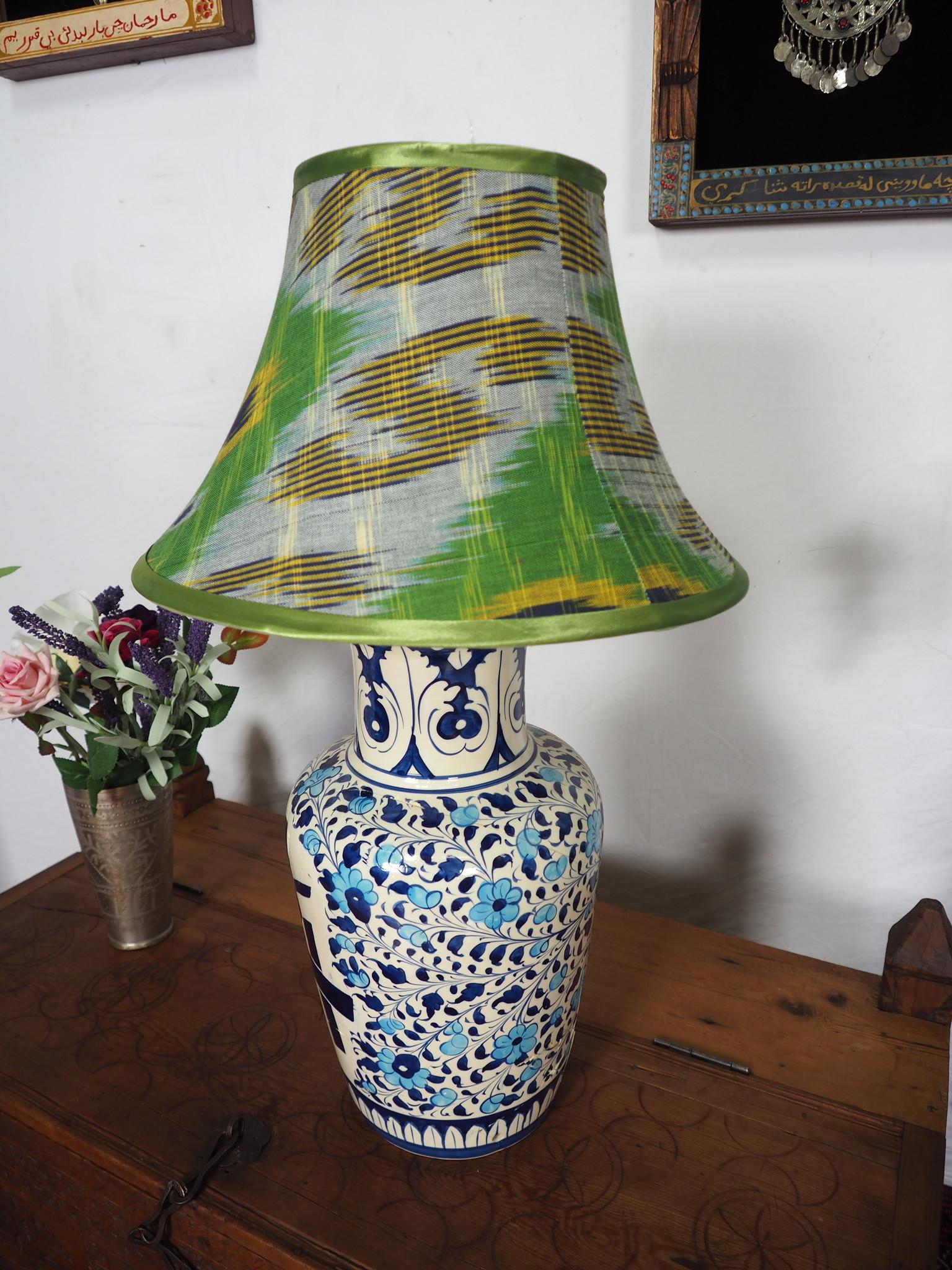 hand made  Unusual Origina Ikat lamp shade from uzbek Ikat No.E