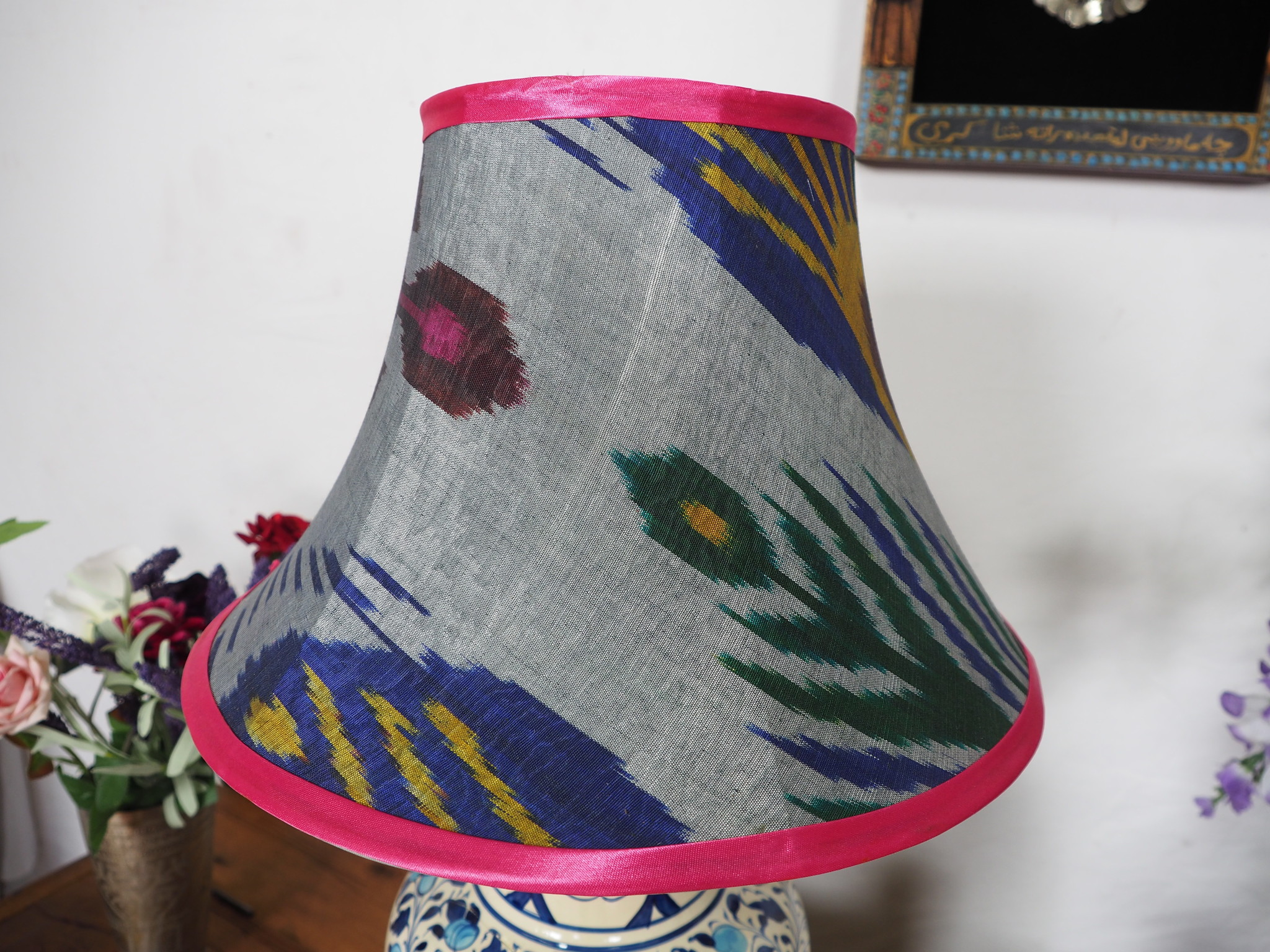 hand made  Unusual Origina Ikat lamp shade from uzbek Ikat No.D