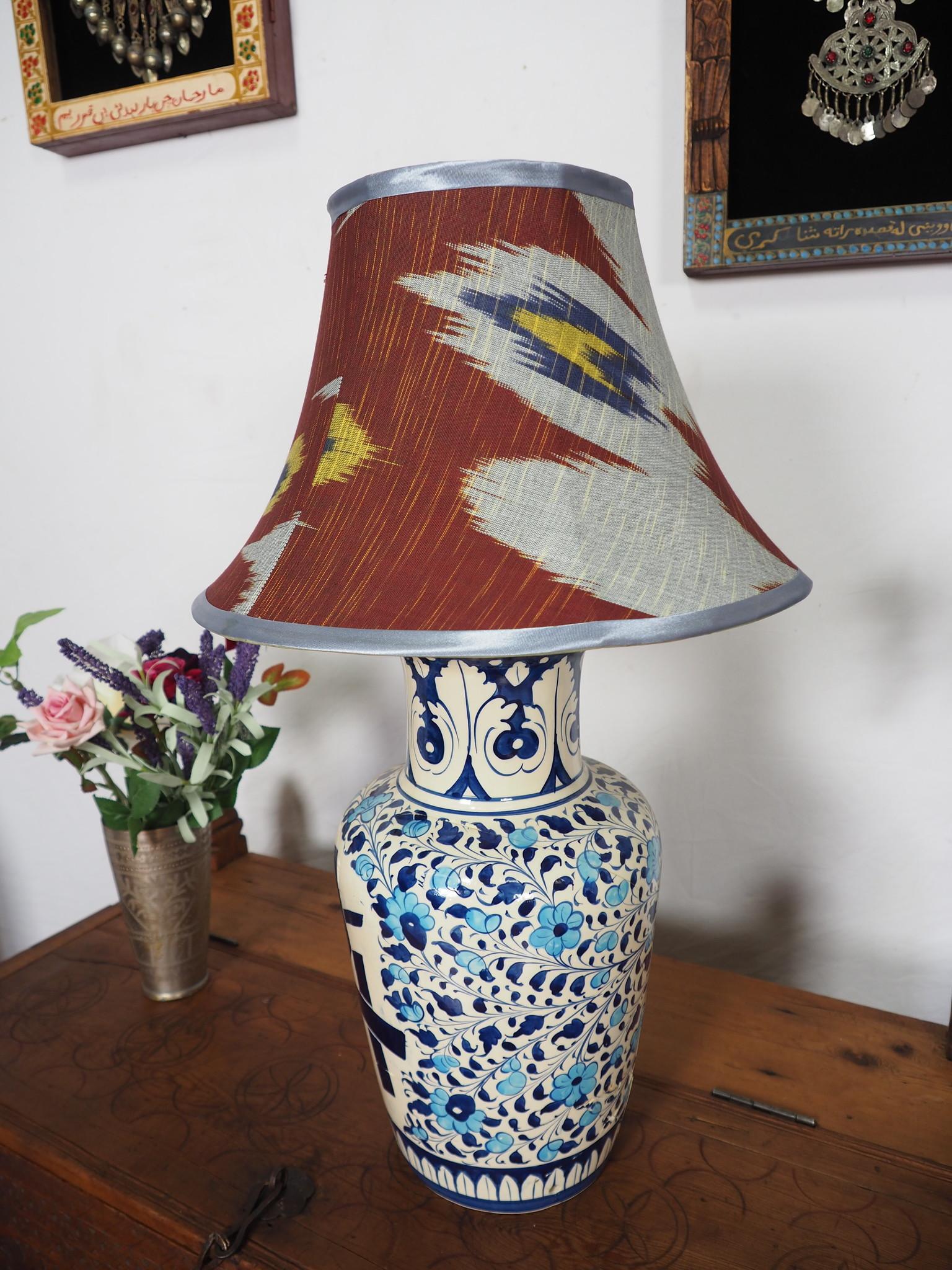 hand made  Unusual Origina Ikat lamp shade from uzbek Ikat No.F