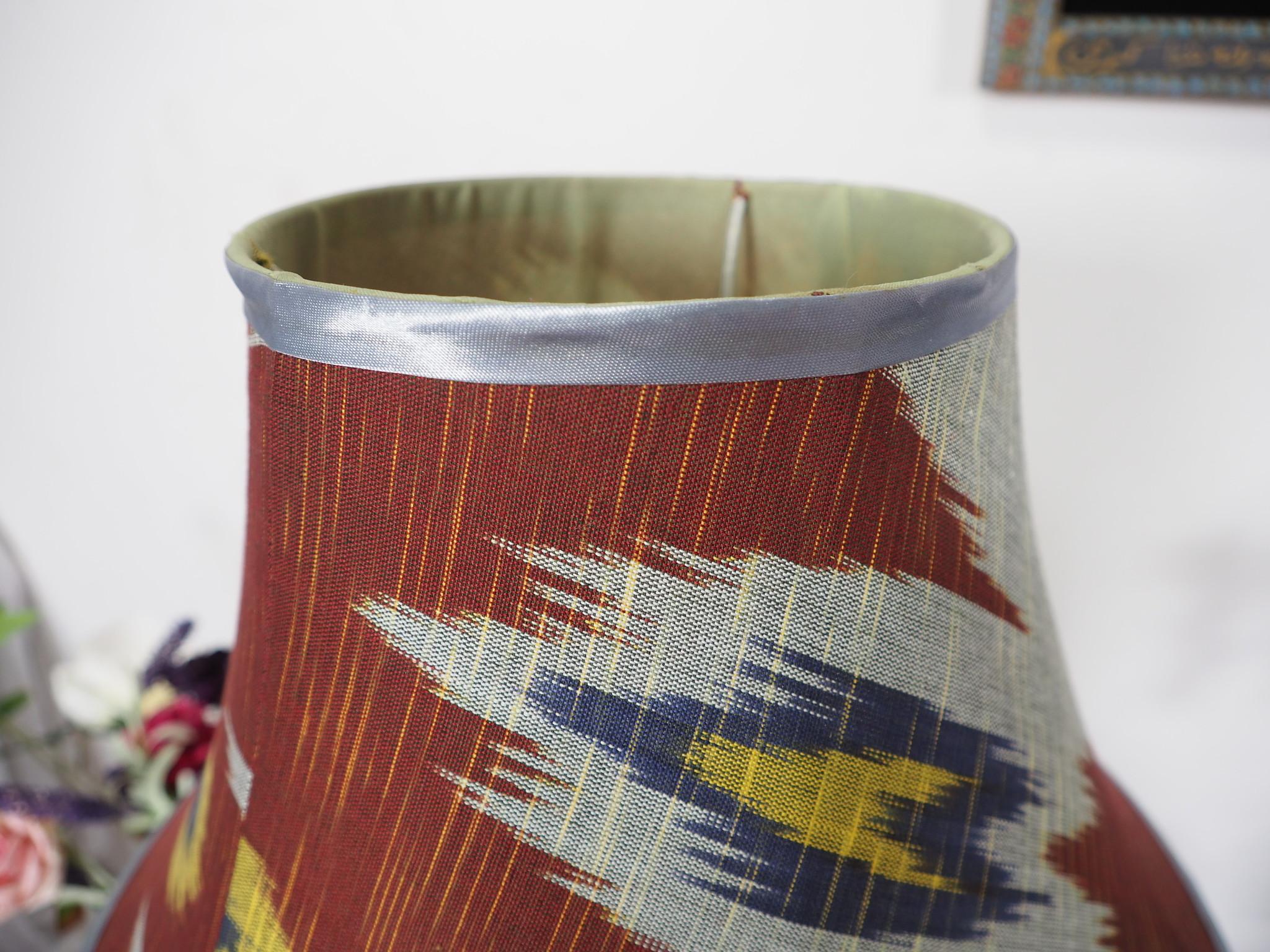 extravagant orient Uzbek Ikat stoff Schirm Lampenschirm Leuchtenschirm lampshade Nr:F