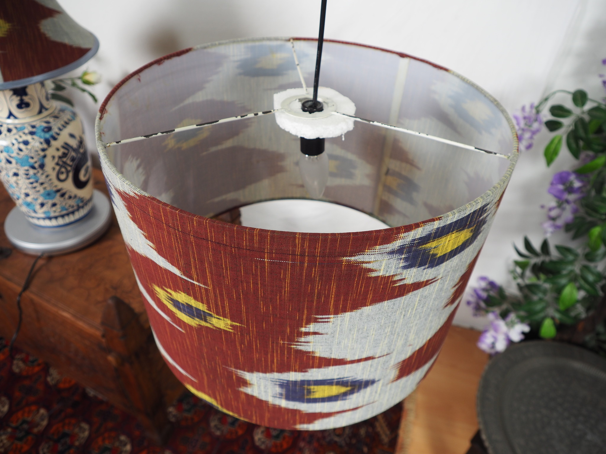 40 cm orient Uzbek Ikat stoff Schirm Lampenschirm Leuchtenschirm lampshade Nr:J