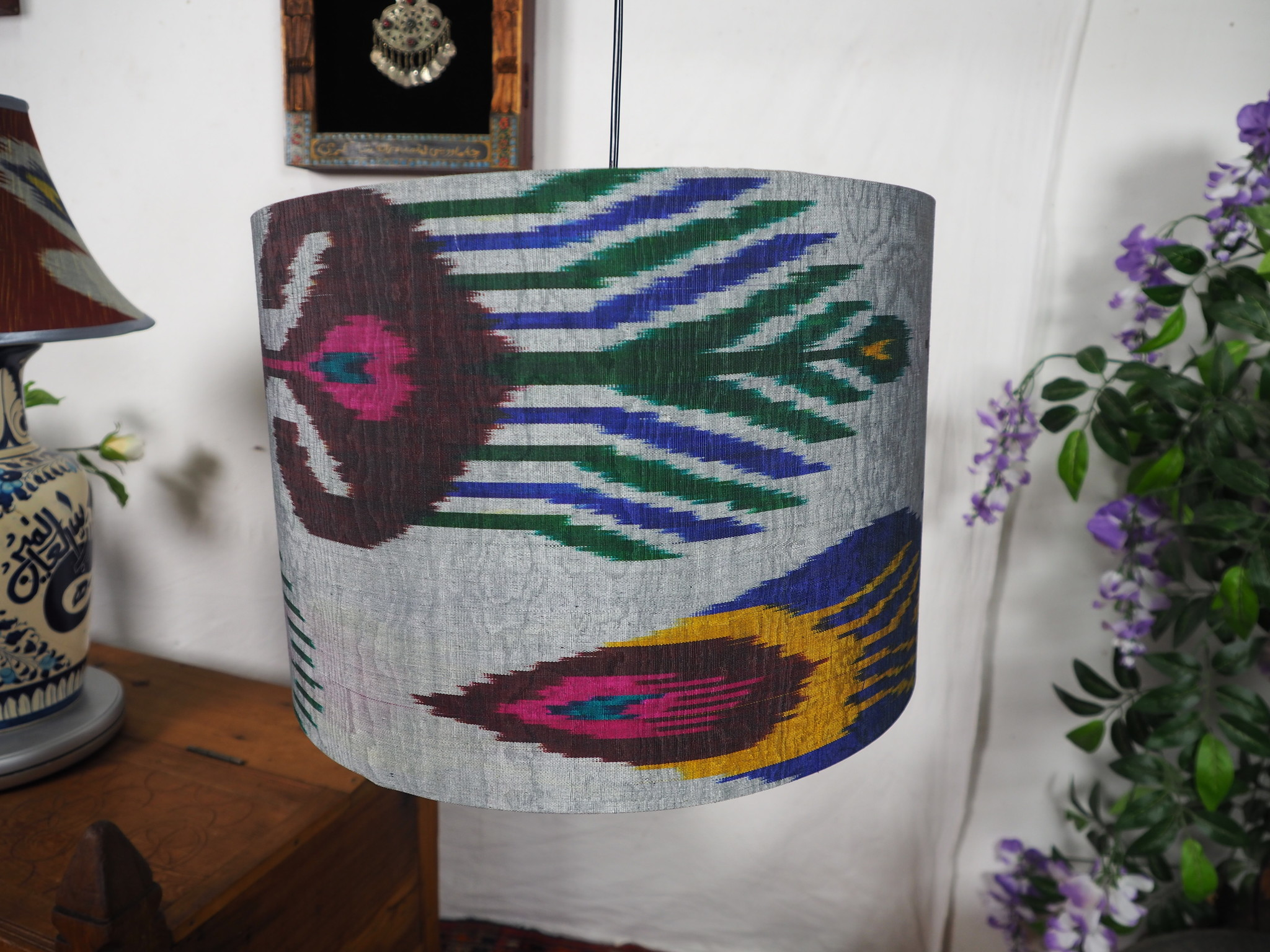 hand made  Unusual Origina Ikat lamp shade from uzbek Ikat No.M