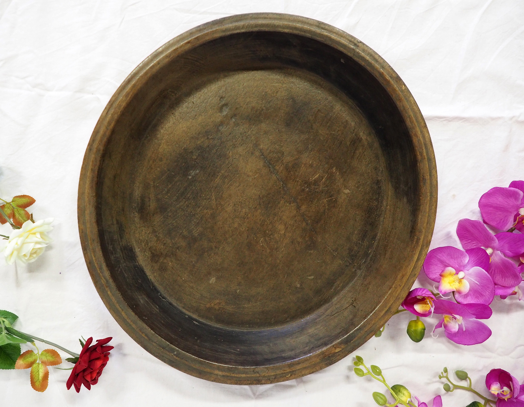 antik orient Holz Tablett teller Antique wooden tray Nuristan Afghanistan ulm/A