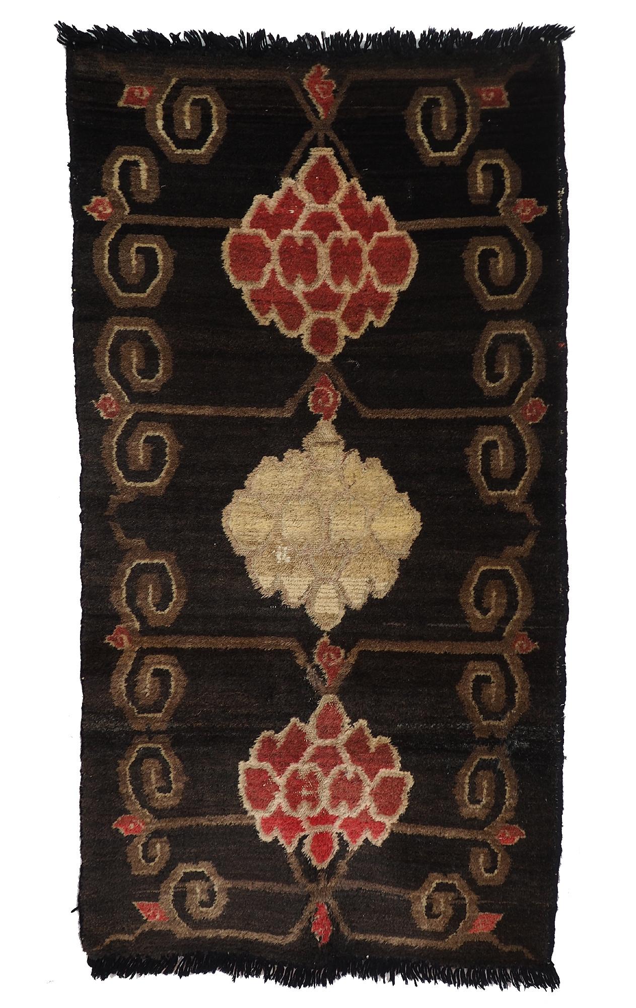 155x84 cm antik Tibetischer Khaden Yoga Meditation Dorfteppich buddhistische Klöster gebetsteppich Teppich Schlafteppich Nr.19