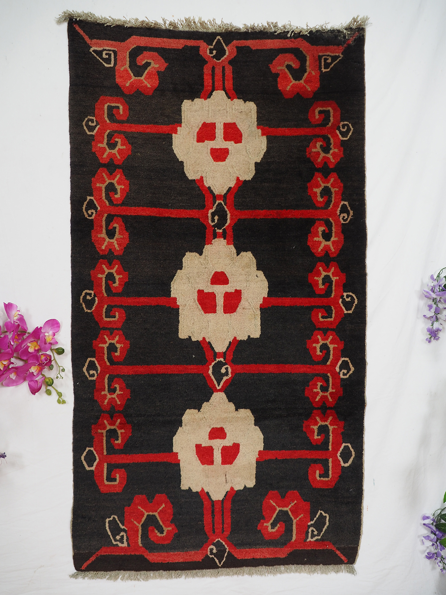 150x83 cm antik Tibetischer Khaden Yoga Meditation Dorfteppich buddhistische Klöster gebetsteppich Teppich Schlafteppich Nr.