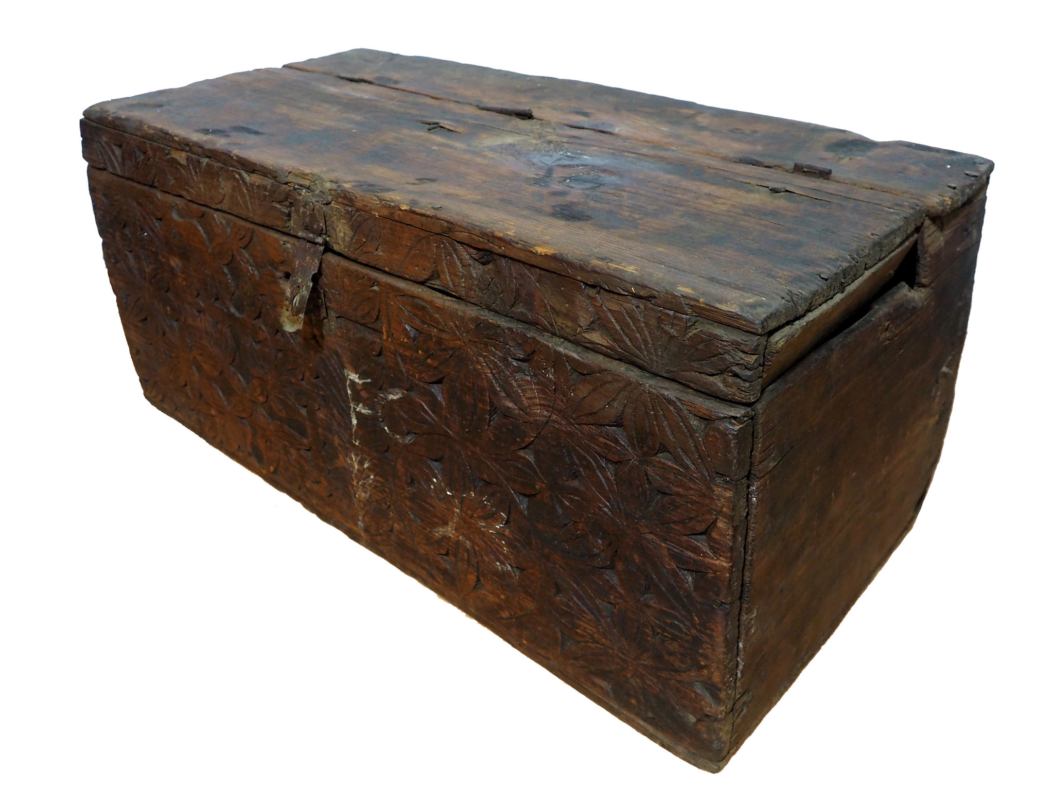 antique 19th century orient vintage cedar wood treasure Dowry Chest from Nuristan Afghanistan NO:20/H