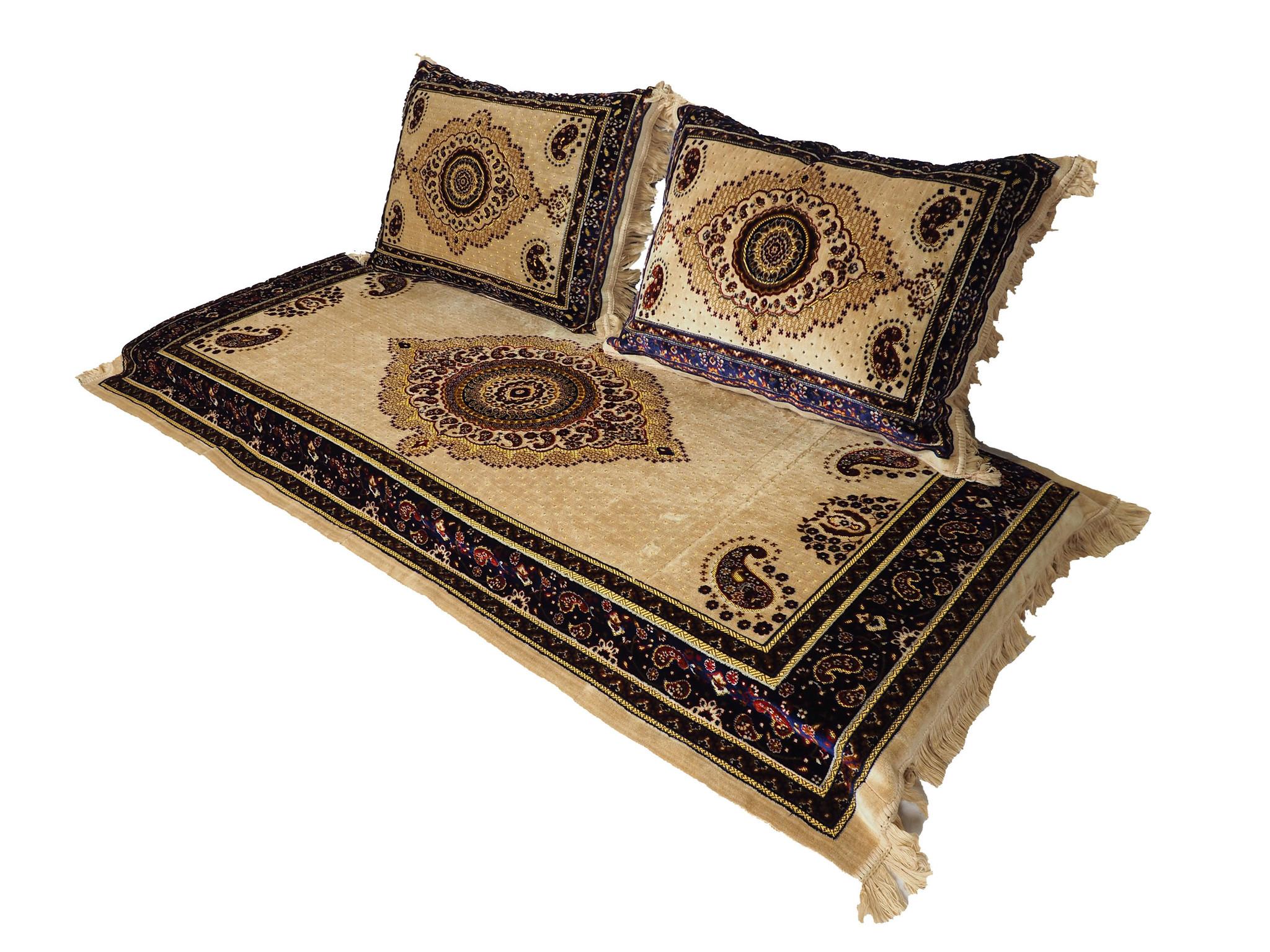 3er Set 1x Matratze + 2 Kissen Afghan nomaden sitzkissen Teppich Orientalische Sitzecke Sofa Bodenkissen Sitzgruppe 190x75 cm توشک ( Beige)