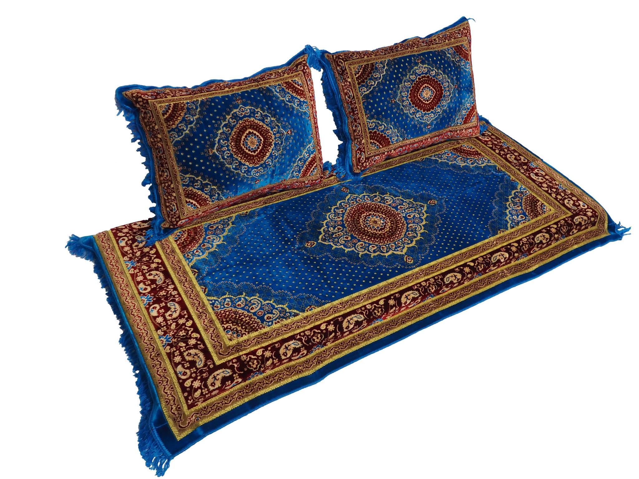 Set of 3 Pcs  1x Mattress  + 2x cushions orient Afghan nomad pillow rug seat floor cushion 1001-night Seating  majlis Toshak توشک  (blue red)