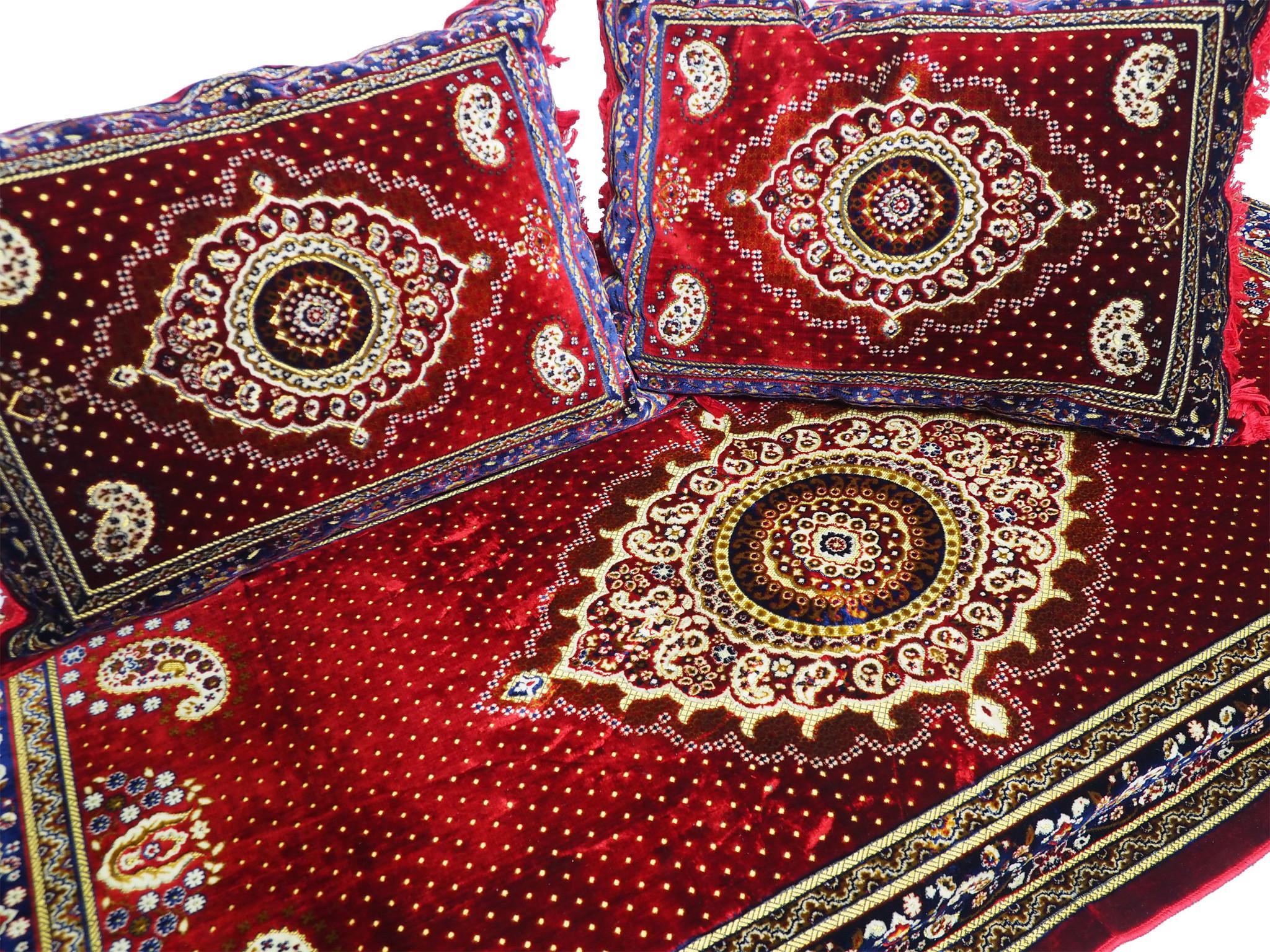 Set of 3 Pcs  1x Mattress  + 2x cushions orient Afghan nomad pillow rug seat floor cushion 1001-night Seating  majlis Toshak توشک  (Red21)