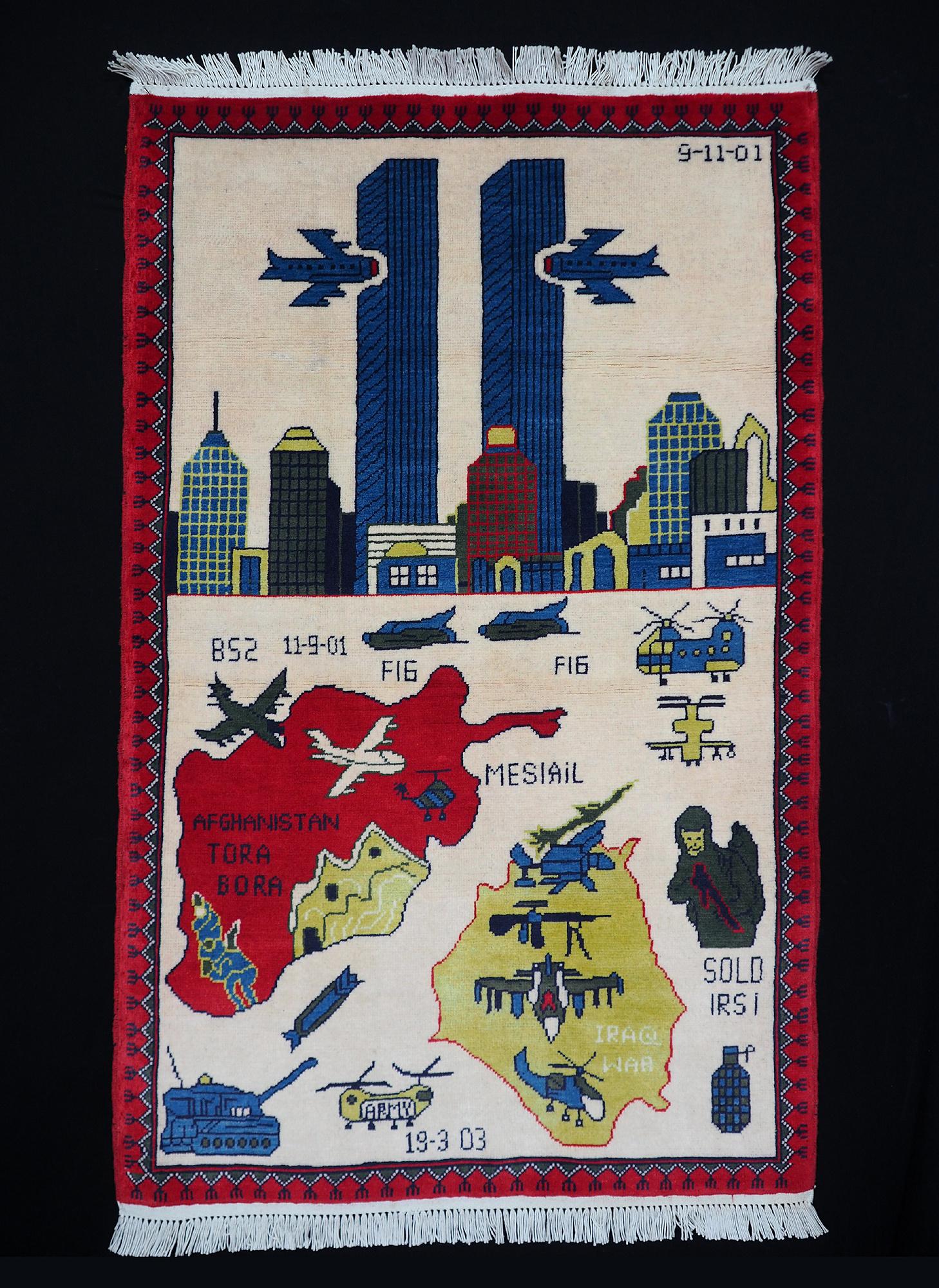 125x80 cm 11 september 2001 Newyork world trade center afghan warrug  WTC Teppich iraq golfkrieg Nr:21A