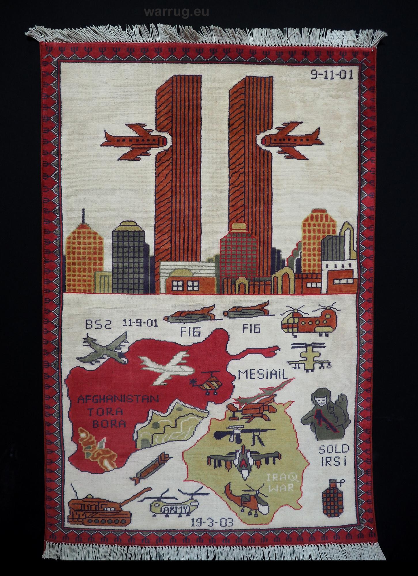 125x85 cm Afghanistan U.S.A 11 september 2001 Newyork world trade center afghan kriegteppich war rug wandteppich orientteppich Nr- WTC 21B