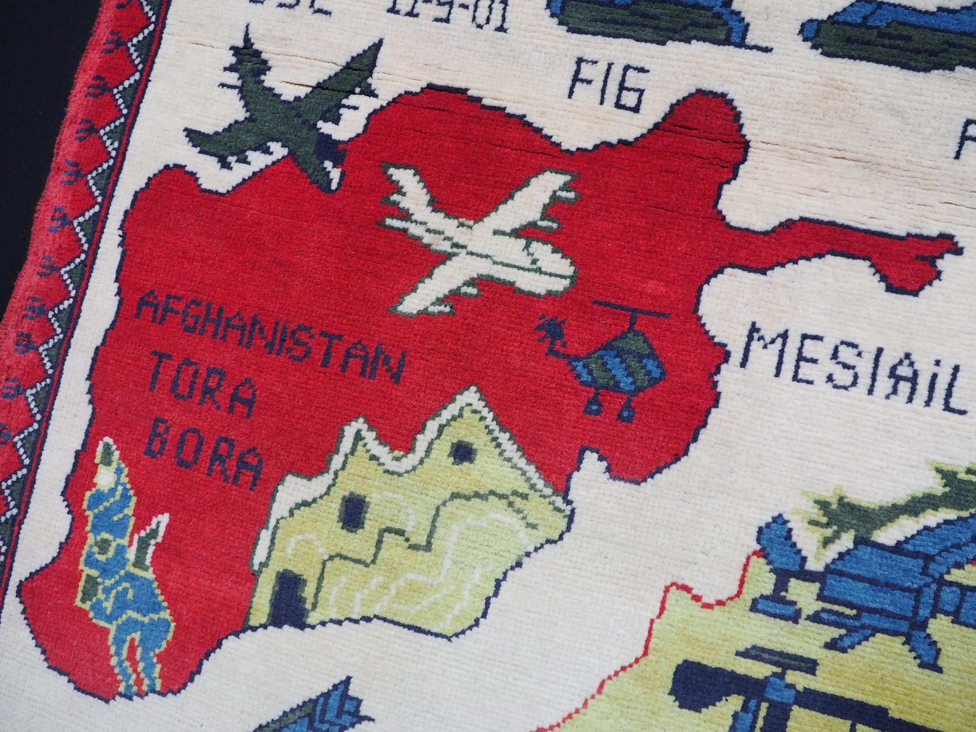 130x82 cm Afghanistan U.S.A 11 september 2001 Newyork world trade center afghan kriegteppich war rug wandteppich orientteppich Nr- WTC 21C
