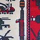 185x126 cm Afghan Kriegteppich Handgeknüpf Teppich Afghanistan panzer kampfjet gewehr USA Army Nato ISAF war rug Nr:AFG21D