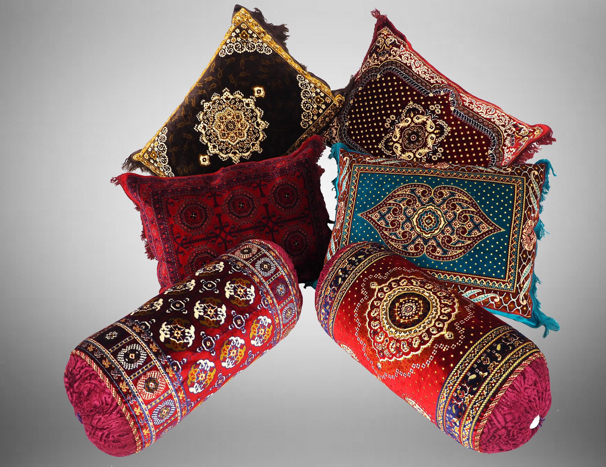 80x58 cm orient samtweiche Afghan Teppich nomaden sitzkissen bodenkissen Turkmen cushion 1001-nacht preis pro Stück (Blau-21)