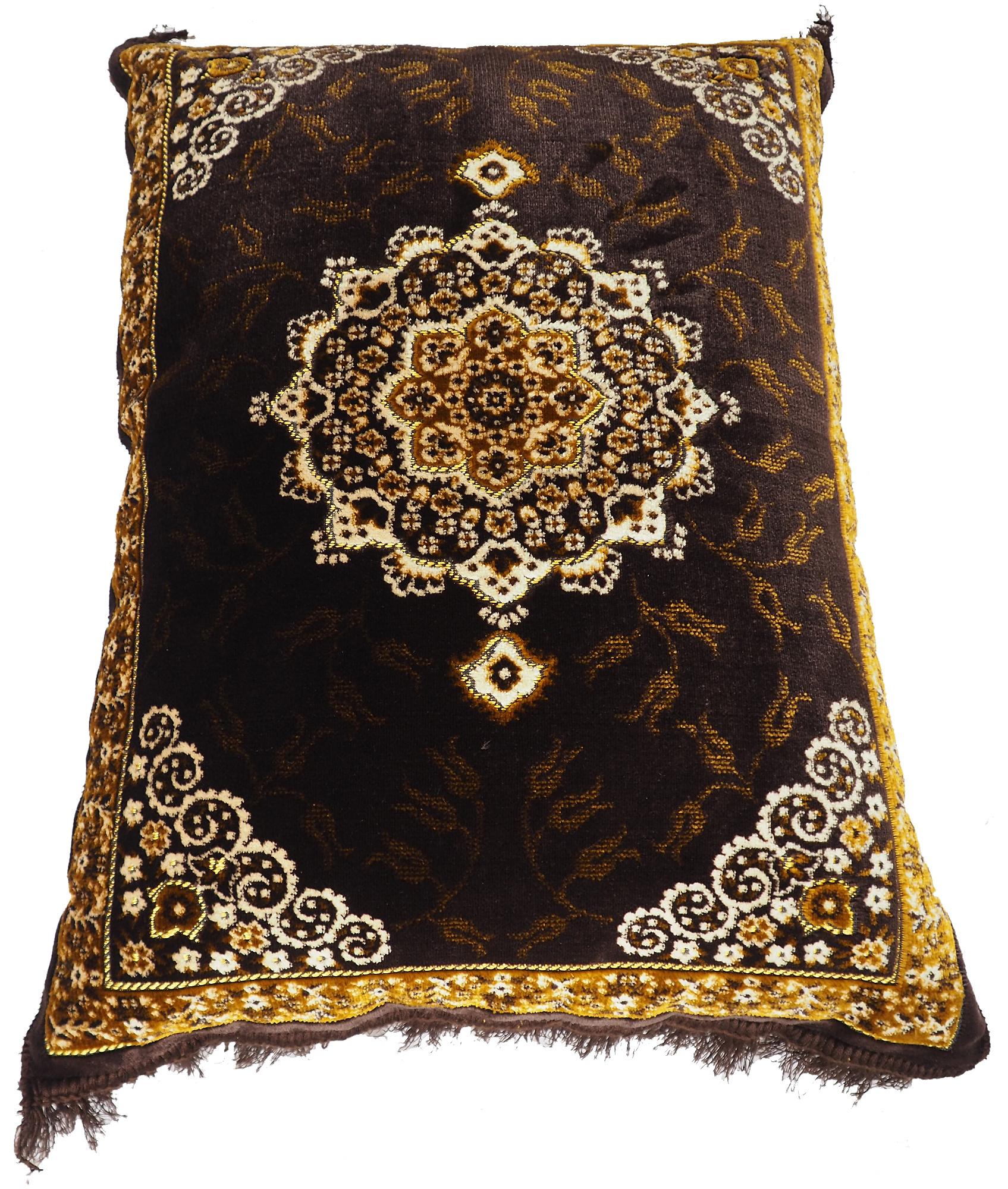 80x58 cm orient samtweiche Afghan Teppich nomaden sitzkissen bodenkissen Turkmen cushion 1001-nacht preis pro Stück (Braun-21)