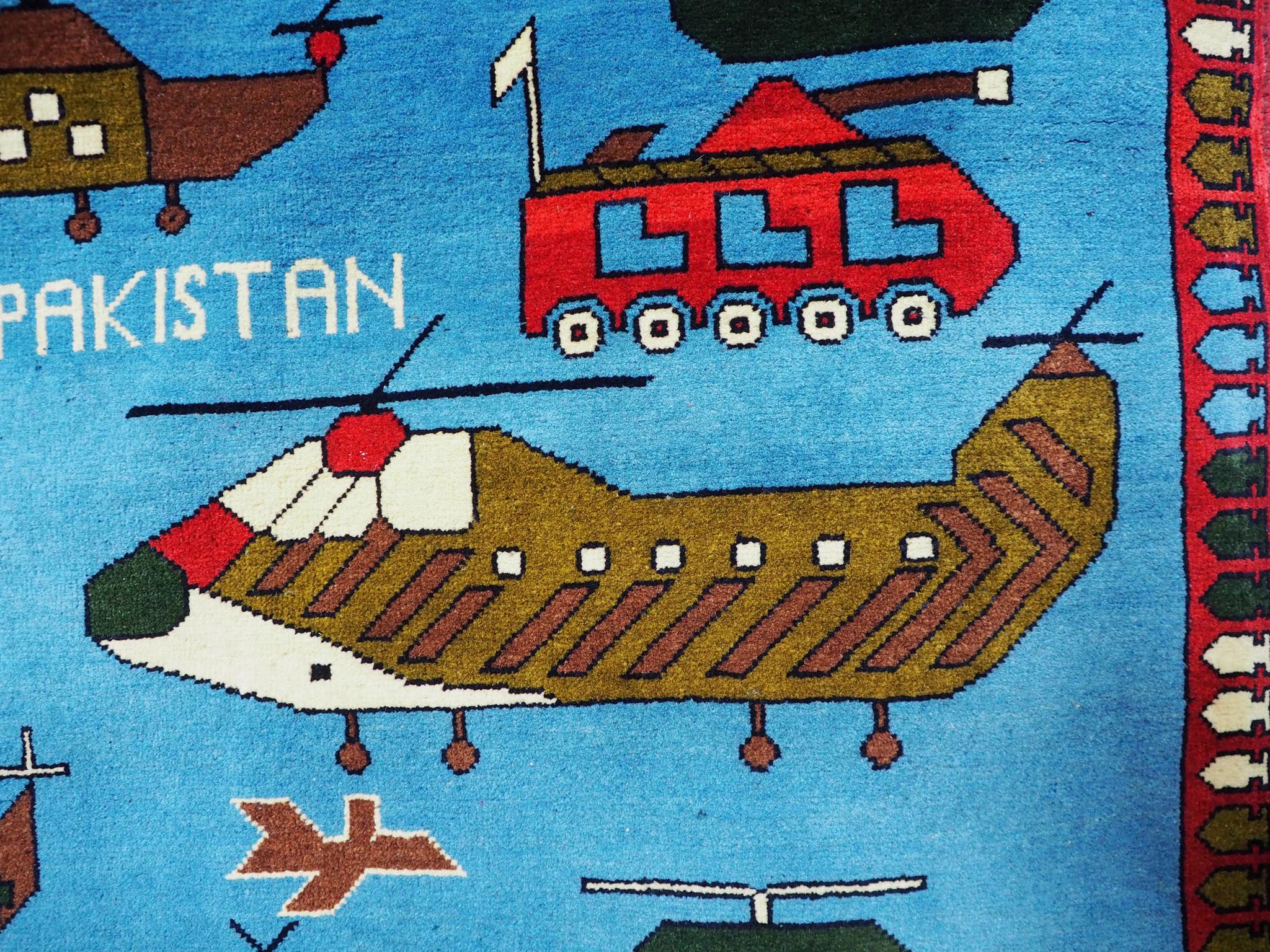 "290 x 207 cm (114,2"" x 81,5"" inch ) nomadic hand-knotted Afghan War rug Afghanistan Panzer fighting jet gun USA Army NATO ISAF warrug AFG21N"