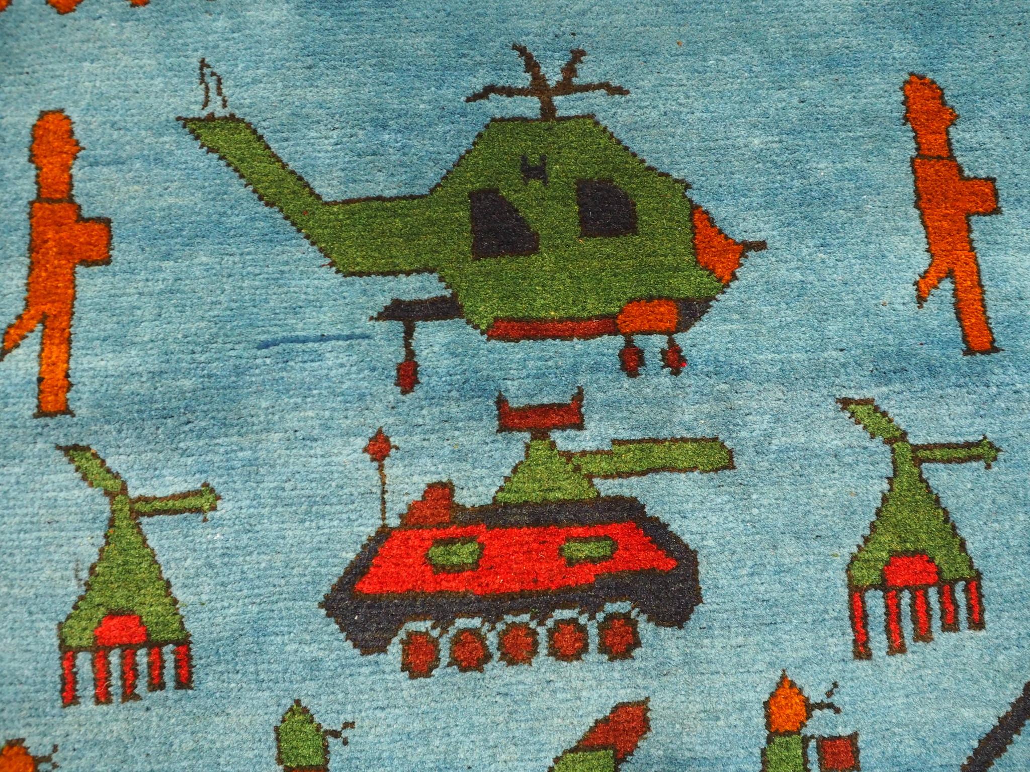 146x108 cm Afghan Kriegteppich Handgeknüpf Teppich Afghanistan panzer kampfjet gewehr USA Army Nato ISAF war rug Nr:AFG21E