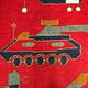 120x86 cm Afghan Kriegteppich Handgeknüpf Teppich Afghanistan panzer kampfjet gewehr USA Army Nato ISAF war rug Nr:AFG21J