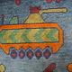 115x82 cm Afghan Kriegteppich Handgeknüpf Teppich Afghanistan panzer kampfjet gewehr USA Army Nato ISAF war rug Nr:AFG21K