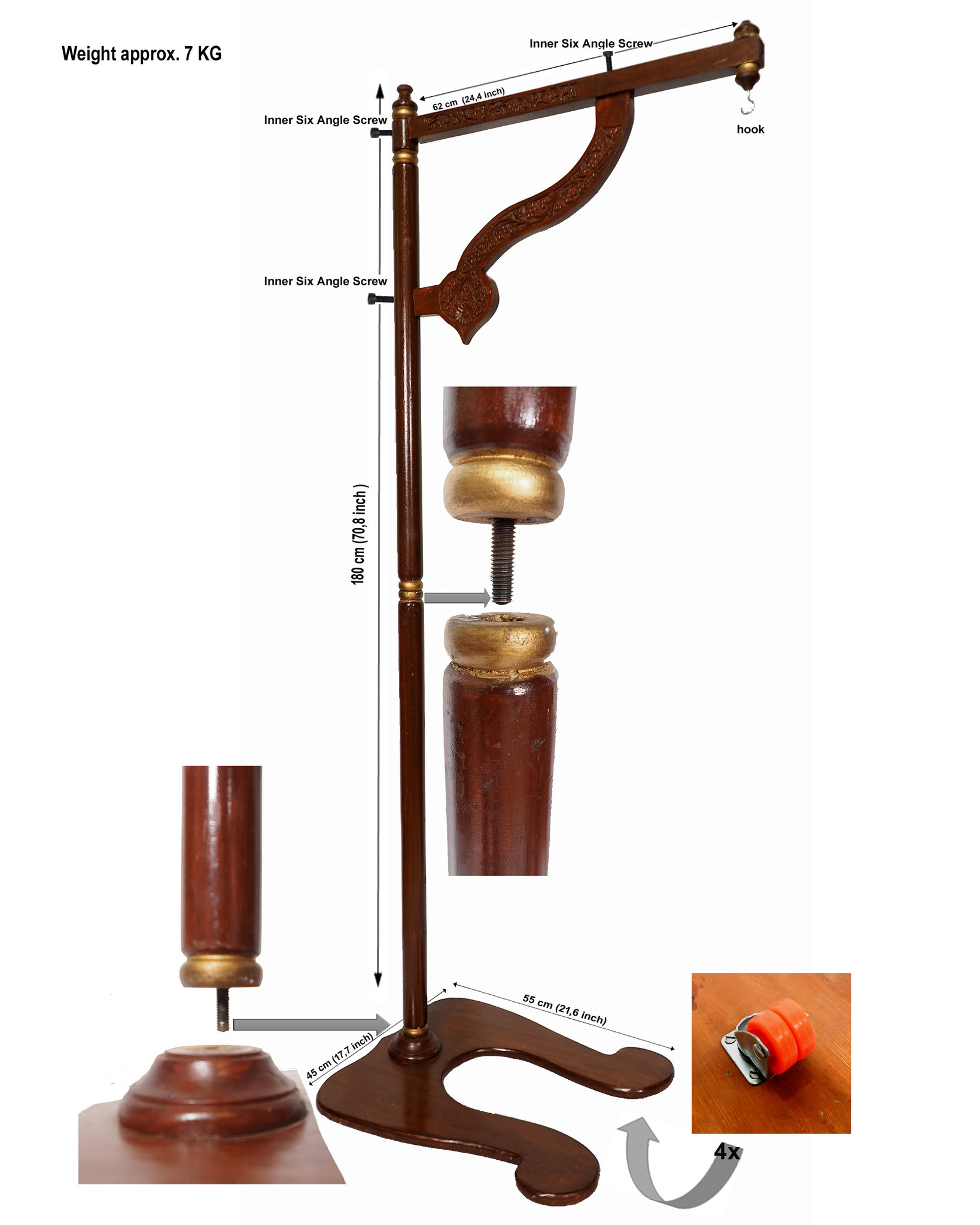 orient solid wood shirodhara ayurveda forehead head casting stand stood including 2.5 Liter Brass Dhara Vessel  pot No:21