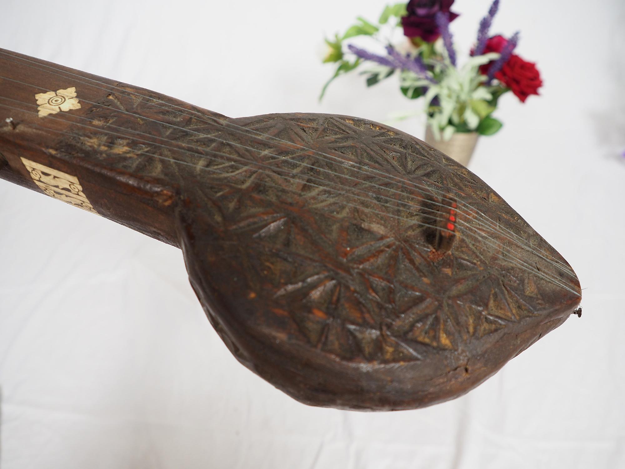 small afghan folk music instrument Tambur Tanbur tanboor from Afghanaistan  Bone inlay تنبور No:21/E
