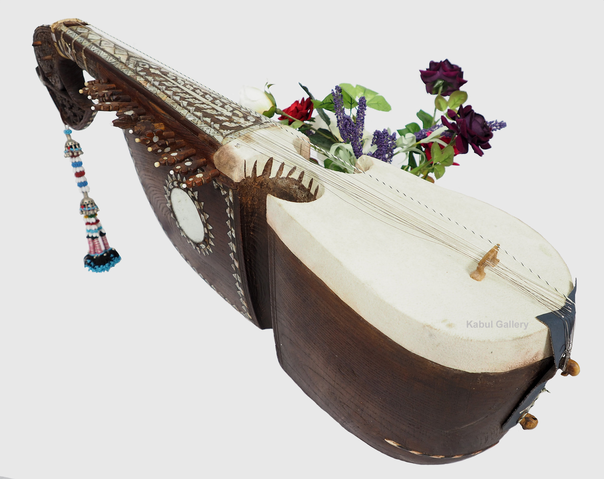 antique traditional folk musical instrument Afghanistan Rubab rabab rabab mother of pearl inlay 21/K
