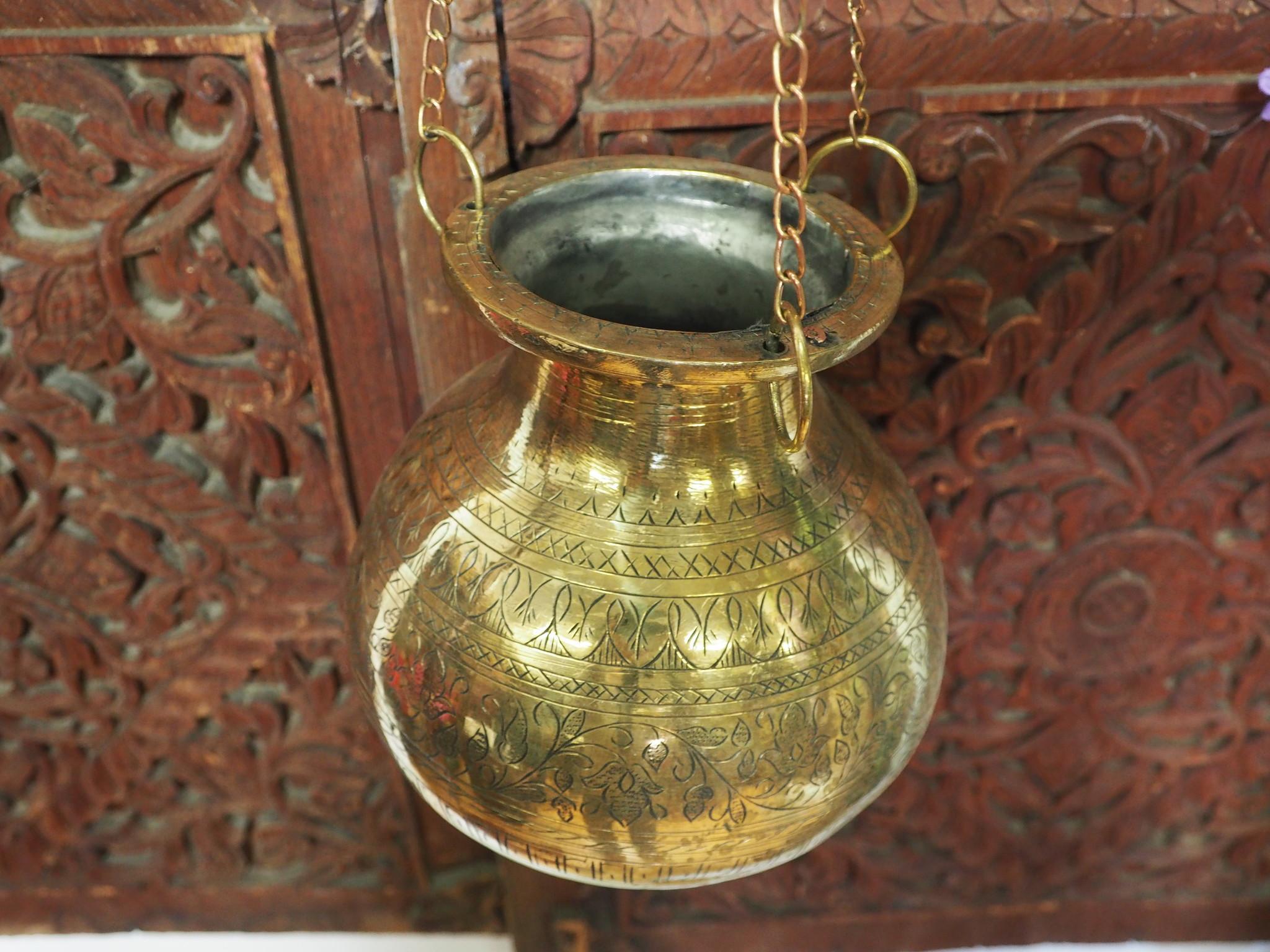 2,5 Liter antik orient Massiv Messing Ayurveda Shirodhara Stirnguss Stirnölguss öl-Therapie Panchakarma Yoga Dhara Vessel gefäß -Nr: 21/2
