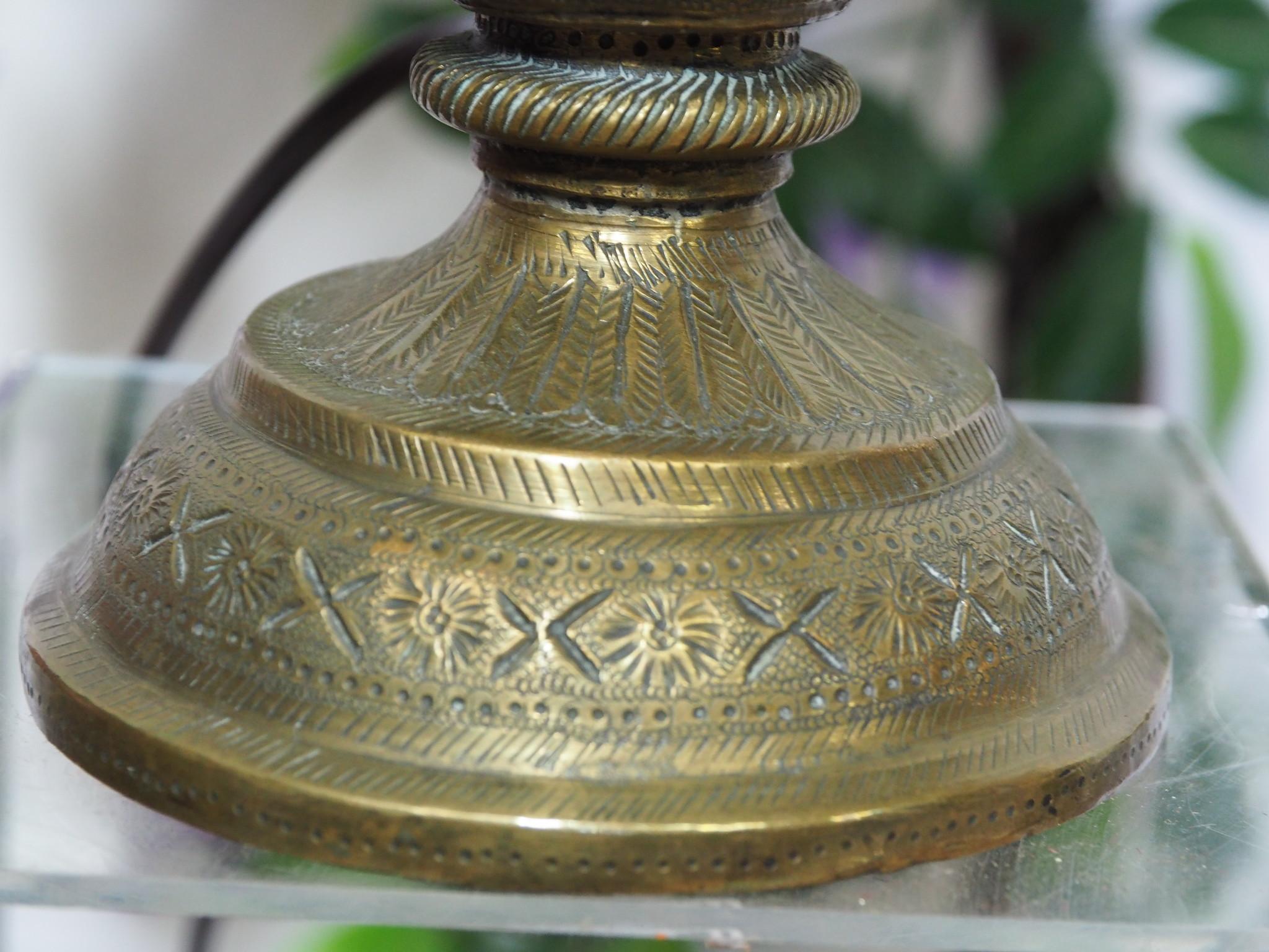 antik ungewöhnlich islamische handgraviert massiv messing Vase als Tischlampe aus Afghanistan ( ohne lampenschirm und Deko artikel Nr:4