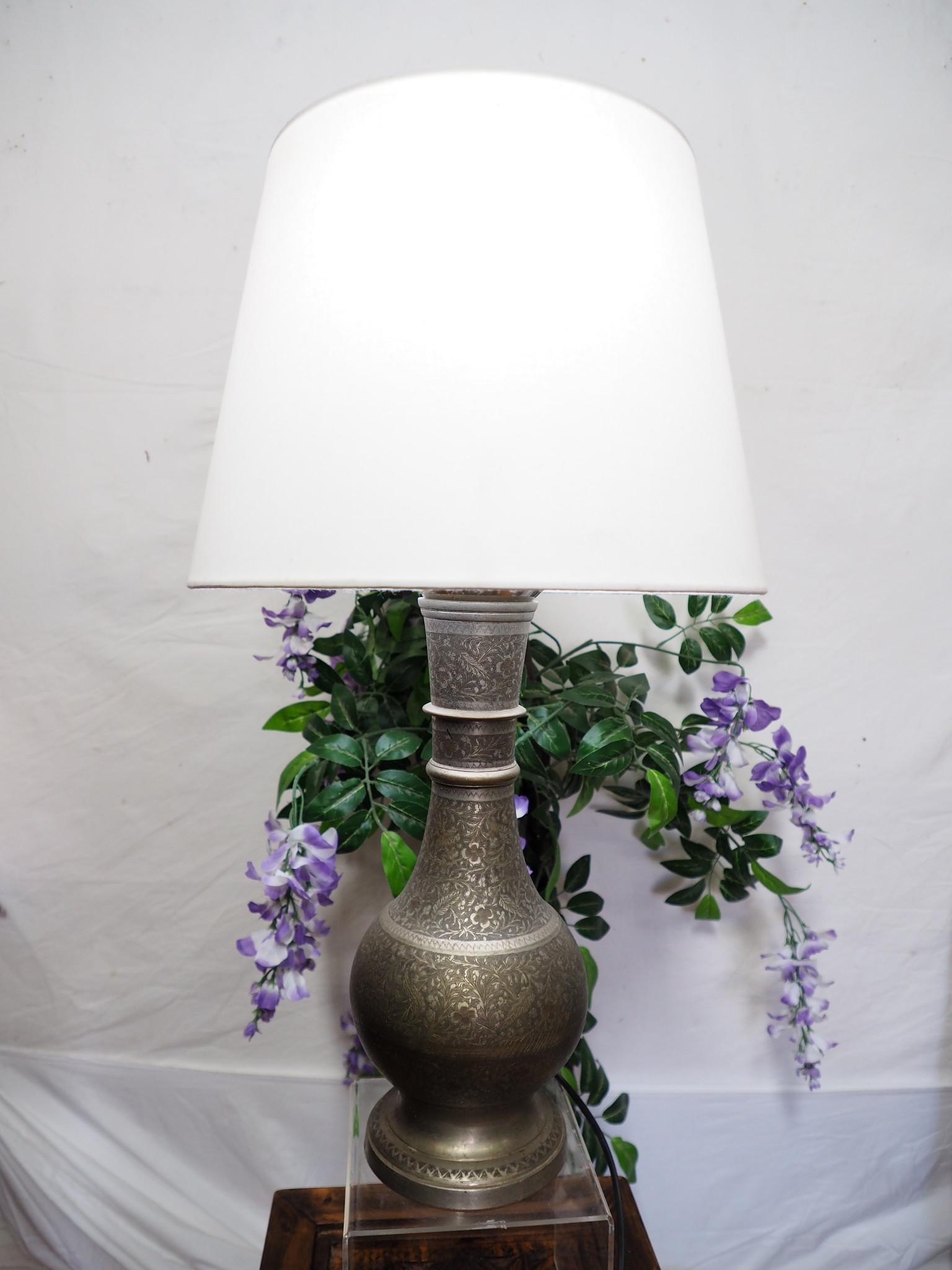 antik ungewöhnlich islamische handgraviert massiv messing Vase als Tischlampe aus Afghanistan ( ohne lampenschirm und Deko artikel Nr:7