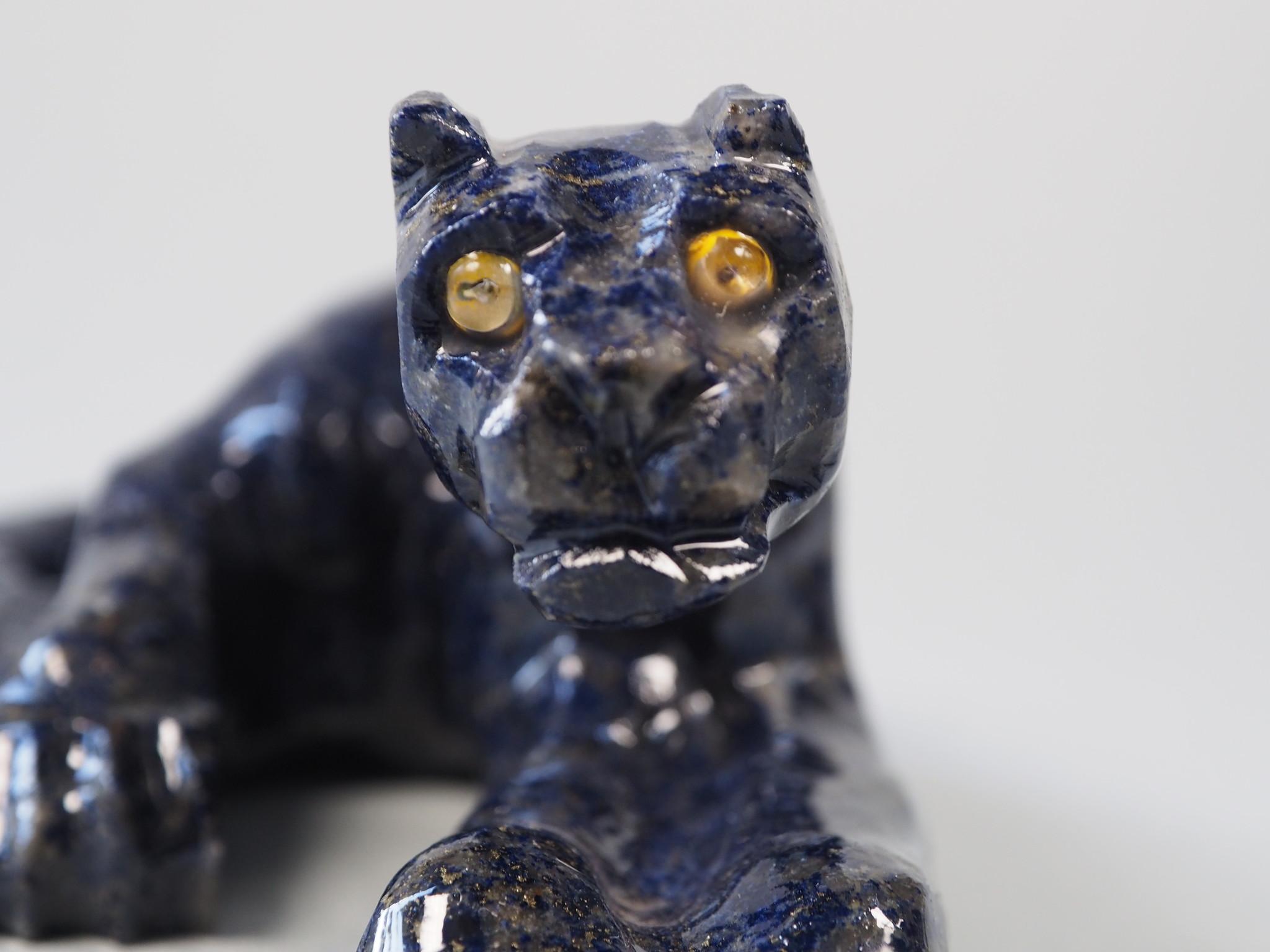 Extravagant Royal blau Lapis lazuli  tier figur briefbeschwere  Raubkatze Nr:21/2