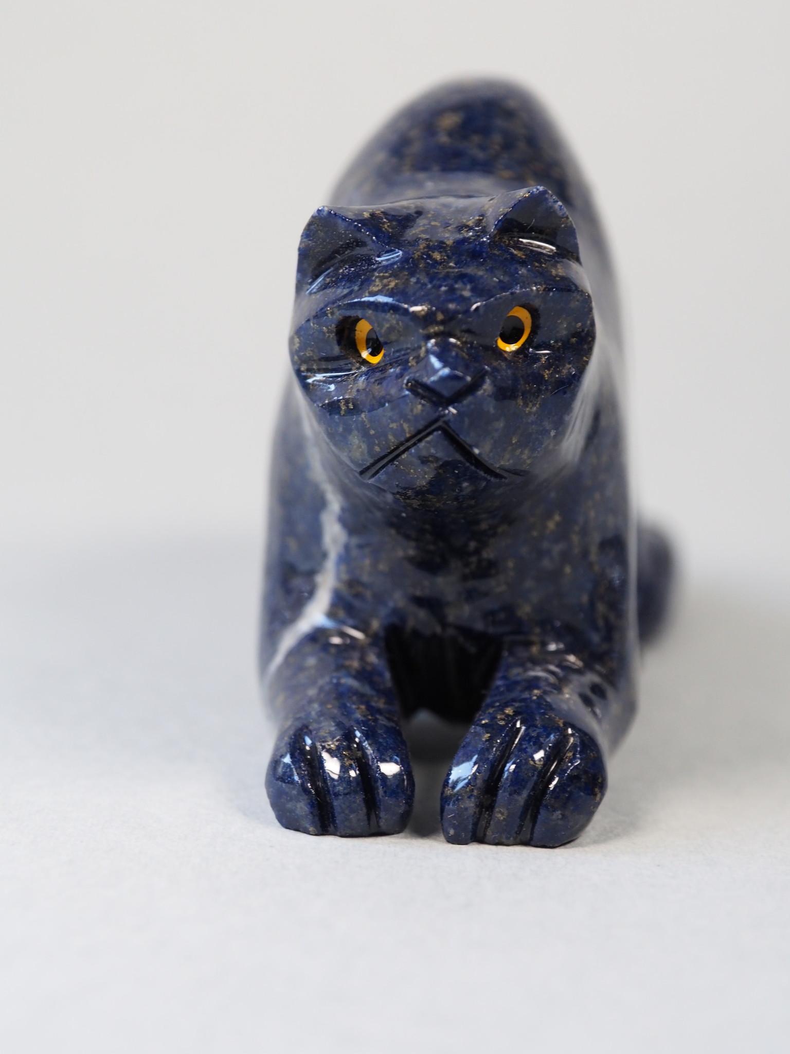 Extravagant Royal blau Lapis lazuli  tier figur briefbeschwere Katze Nr:21/ 6