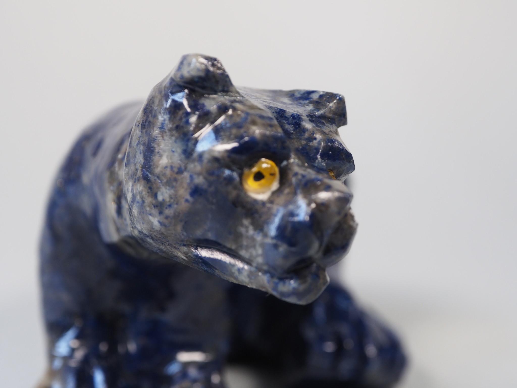 Extravagant Royal blau Lapis lazuli  tier figur briefbeschwere Raubkatze Nr:21/ 15