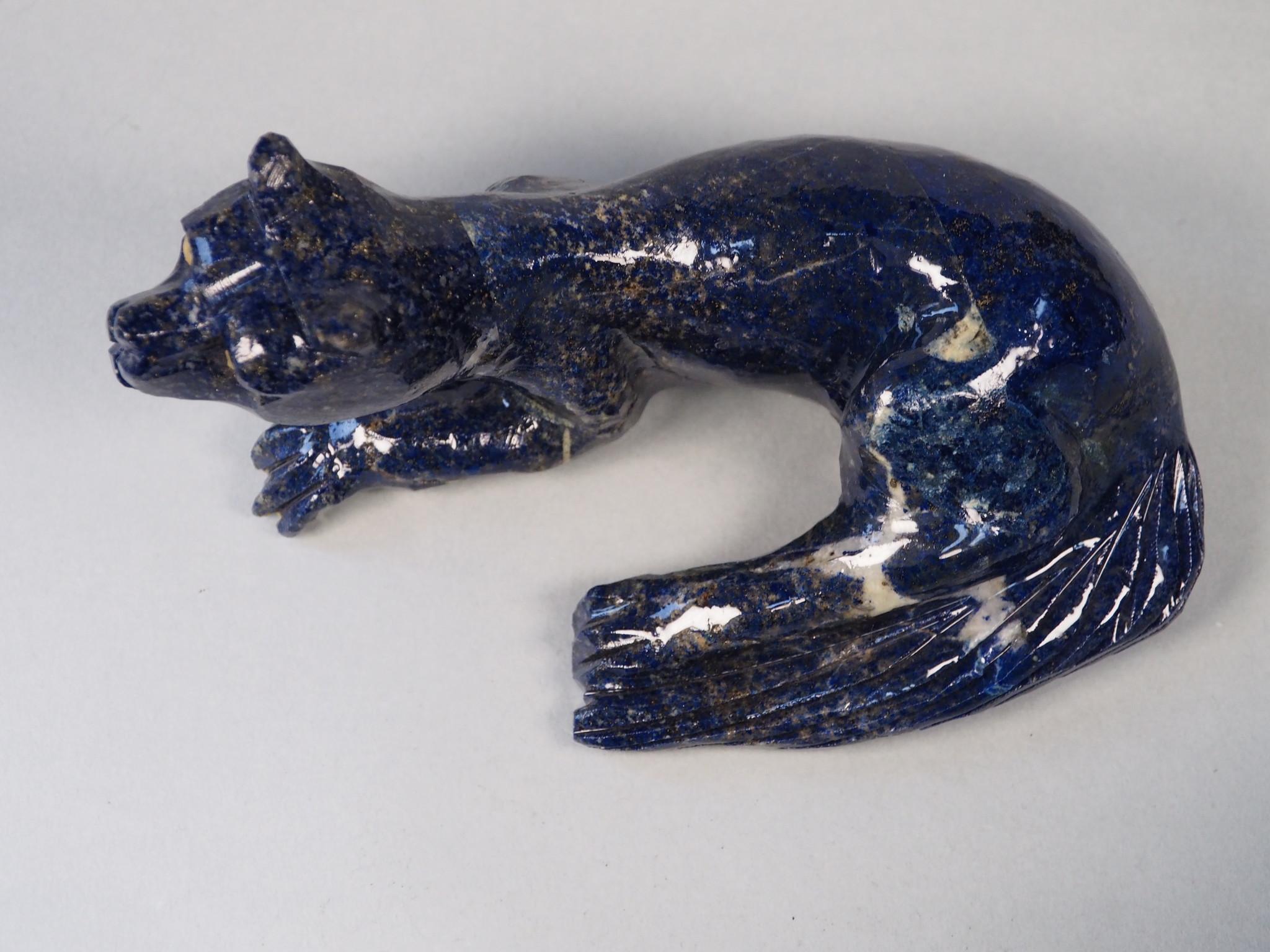 Extravagant Royal blau Lapis lazuli  tier figur briefbeschwere Raubkatze Nr:21/ 20