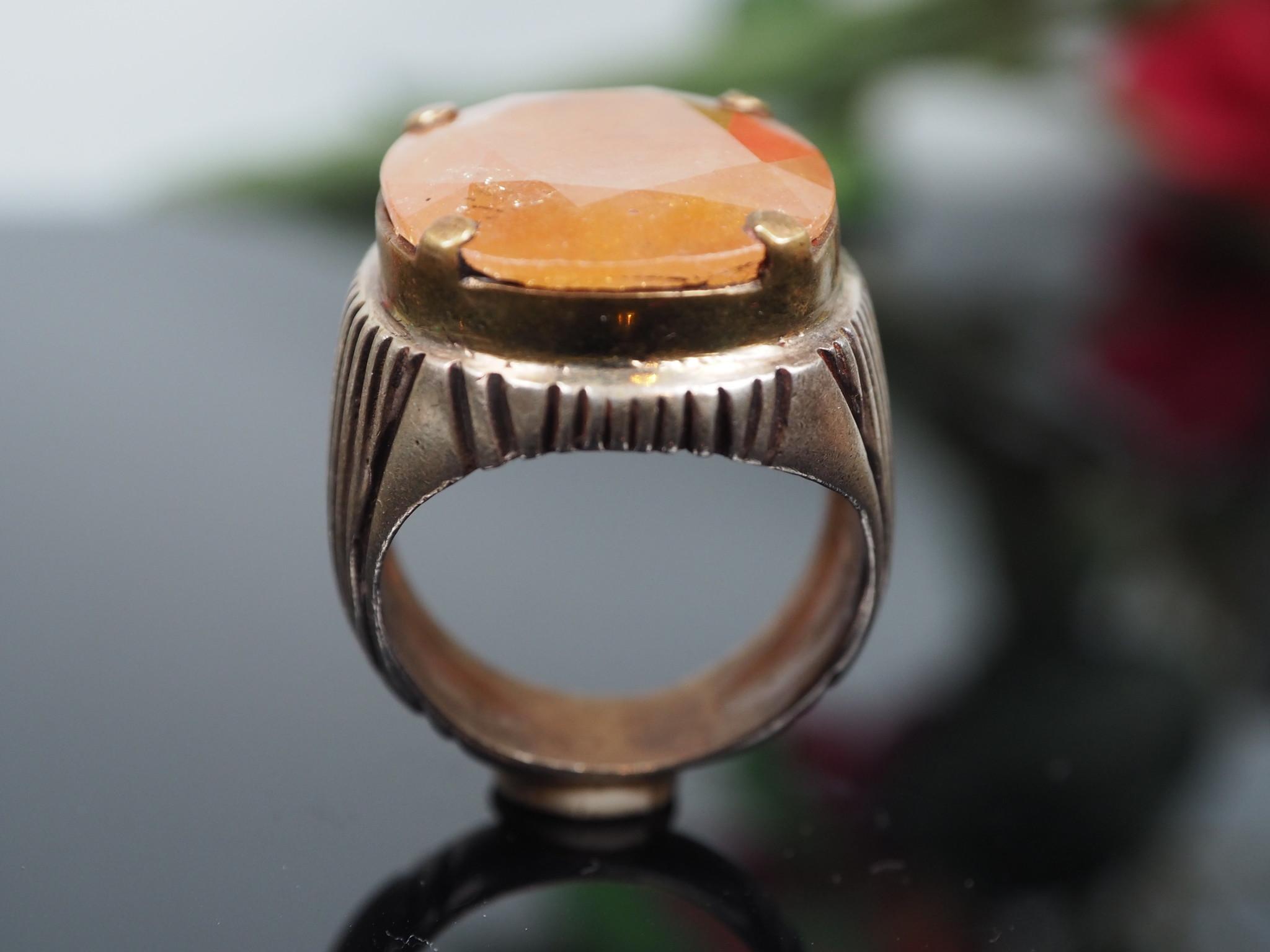 antique handmade Silver calcite orange stone turkmen statement AQEEQ ring from Afghanistan No:WL21/2