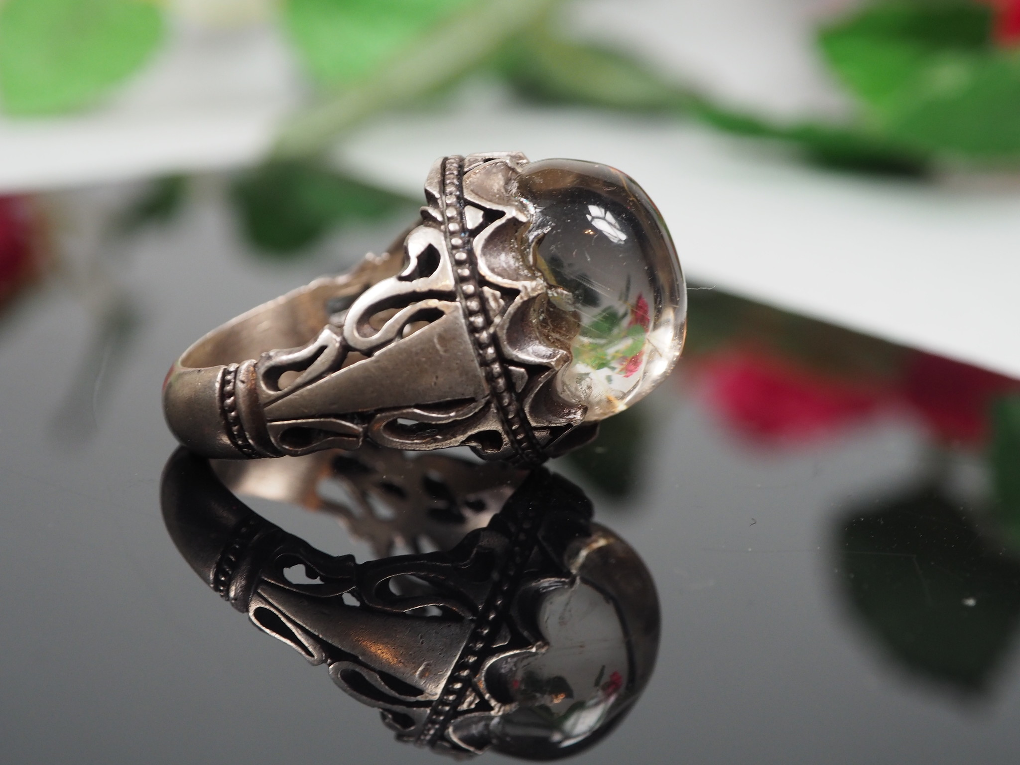 antique handmade Silver rock crystal stone turkmen statement ring from Afghanistan No:WL21/4